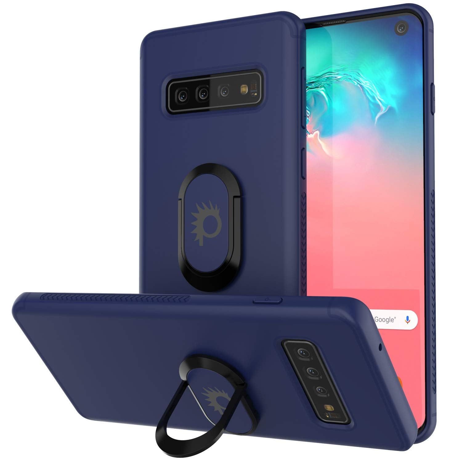 Black Galaxy S8 Case Ring Grip Holder /& Metal Plate for Magnetic Car Phone Mount Plus PunkShield Screen Protector for Samsung S8 Edge Punkcase Magnetix Protective TPU Cover W//Kickstand