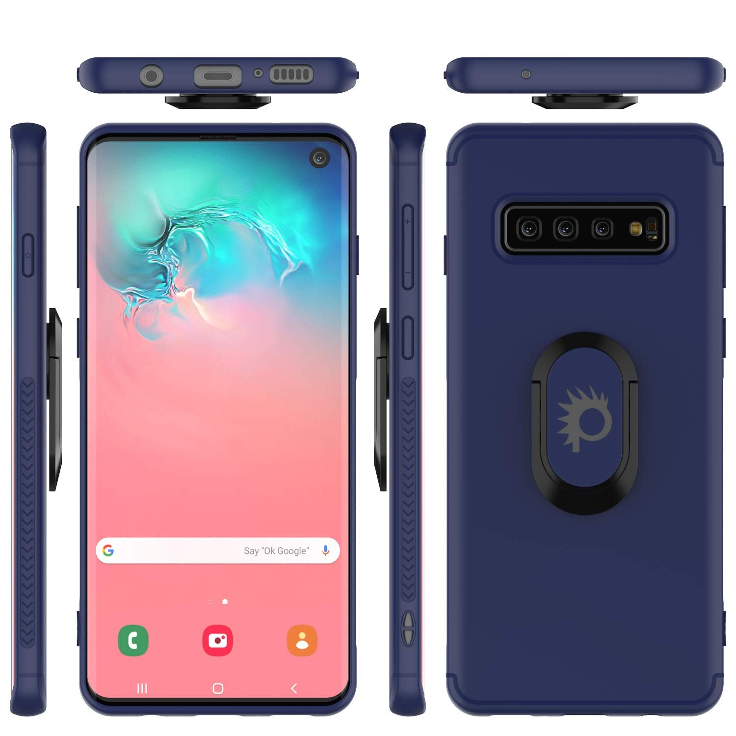 Galaxy S10 Case, Punkcase Magnetix Protective TPU Cover W/ Kickstand, Sceen Protector[Blue]