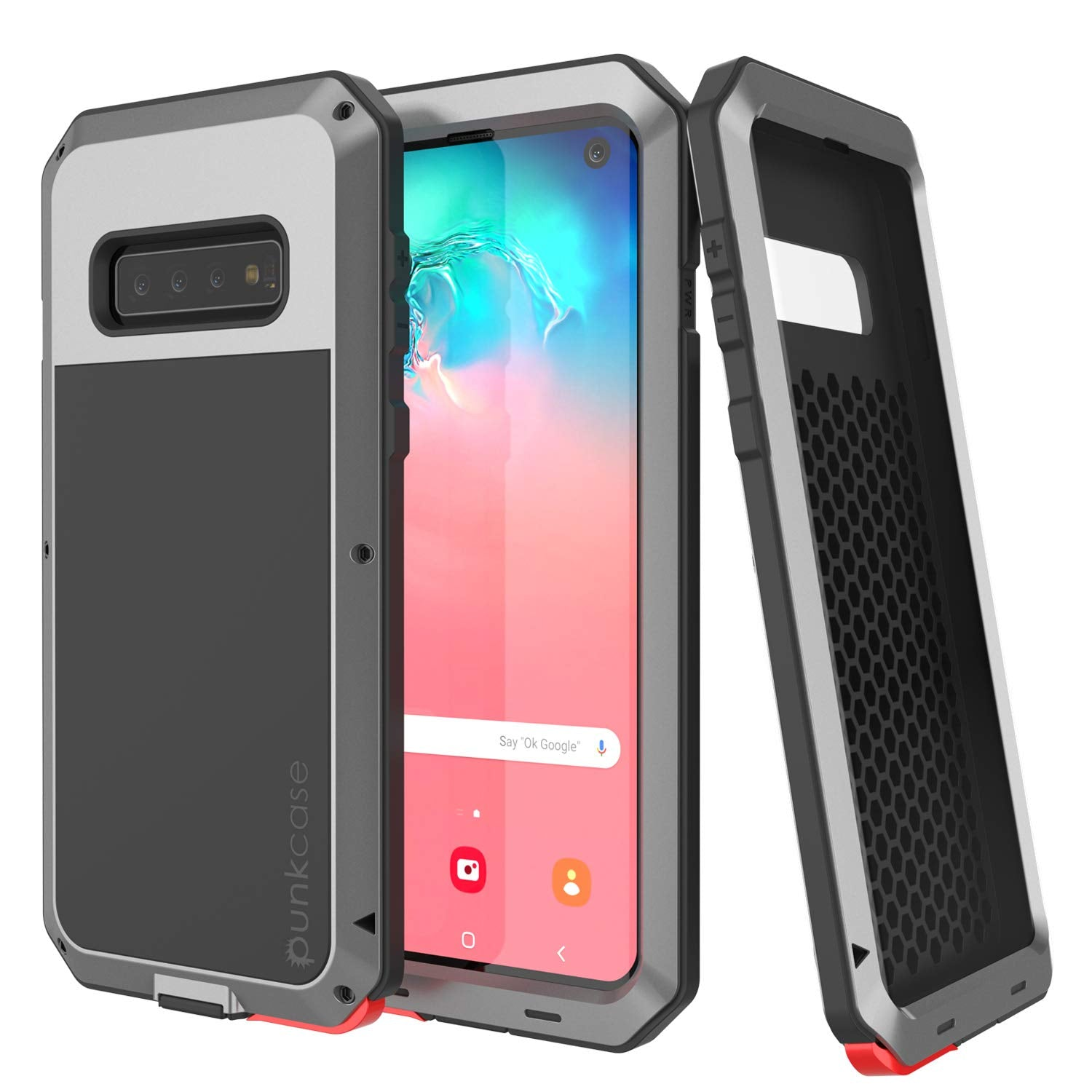 Galaxy S10 Metal Case, Heavy Duty Military Grade Rugged Armor Cover [Silver]