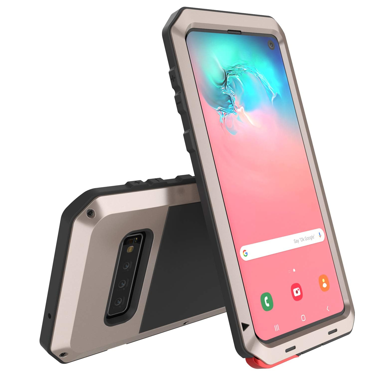 Galaxy S10 Metal Case, Heavy Duty Military Grade Rugged Armor Cover [Gold]