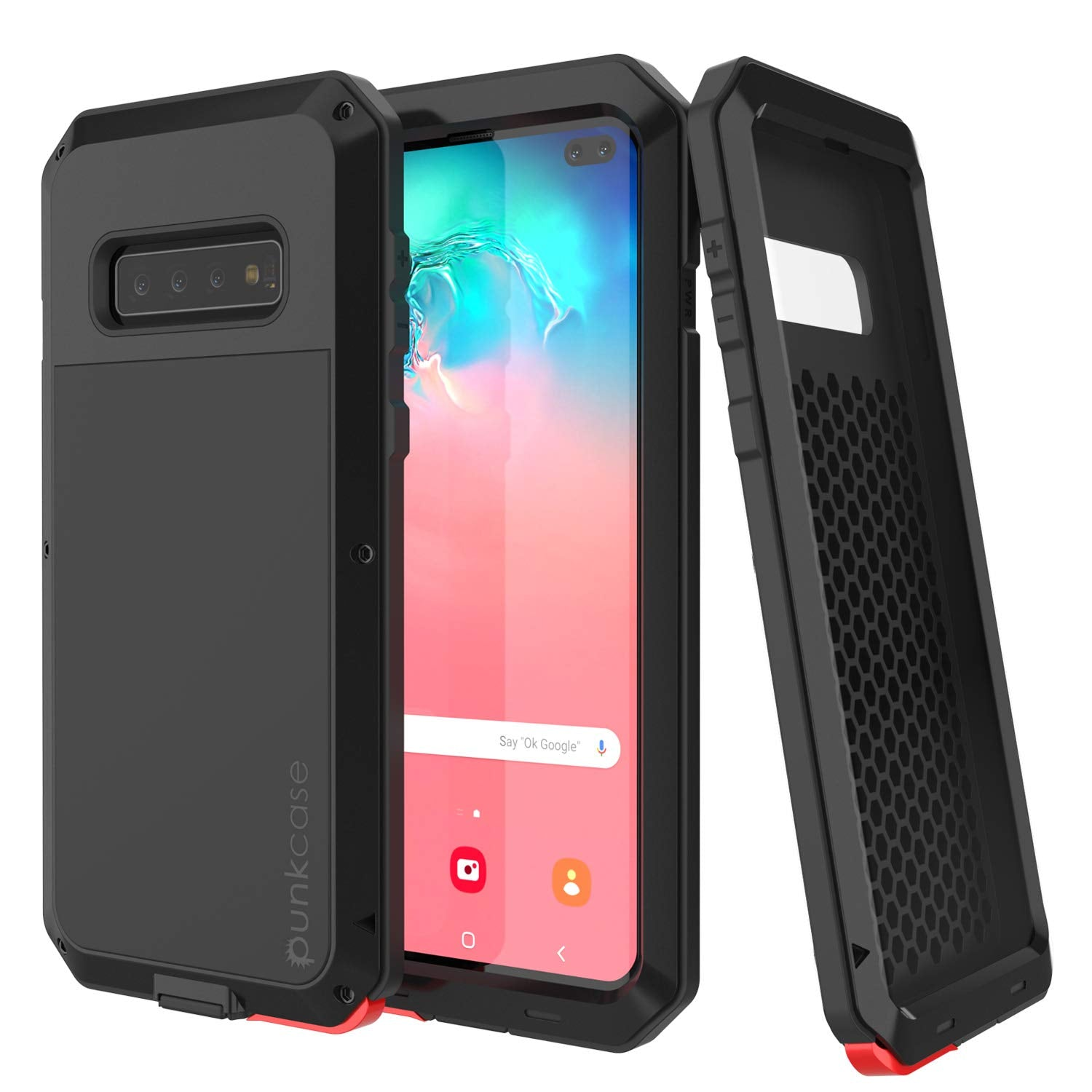 Galaxy S10+ Plus Metal Case, Heavy Duty Military Grade Rugged Armor Cover [Black]