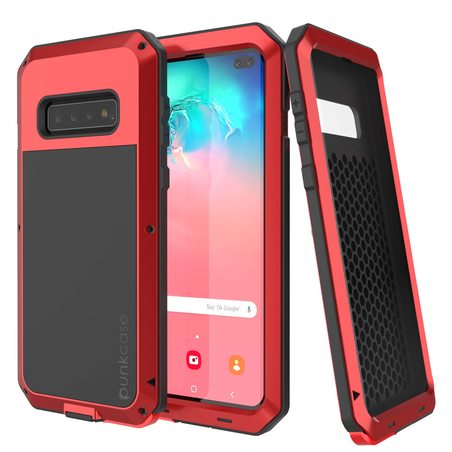 Galaxy S10+ Plus Metal Case, Heavy Duty Military Grade Rugged Armor Cover [Red]