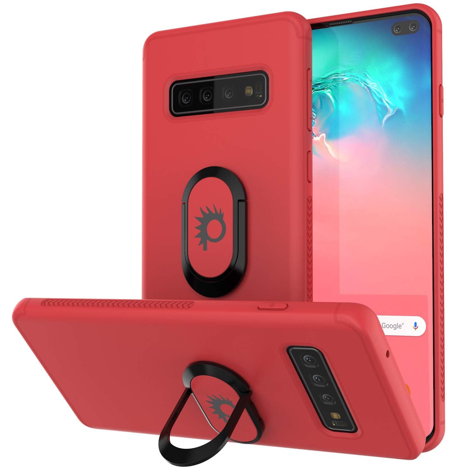 Galaxy S10+ Plus, Punkcase Magnetix Protective TPU Cover W/ Kickstand, Sceen Protector[Red]