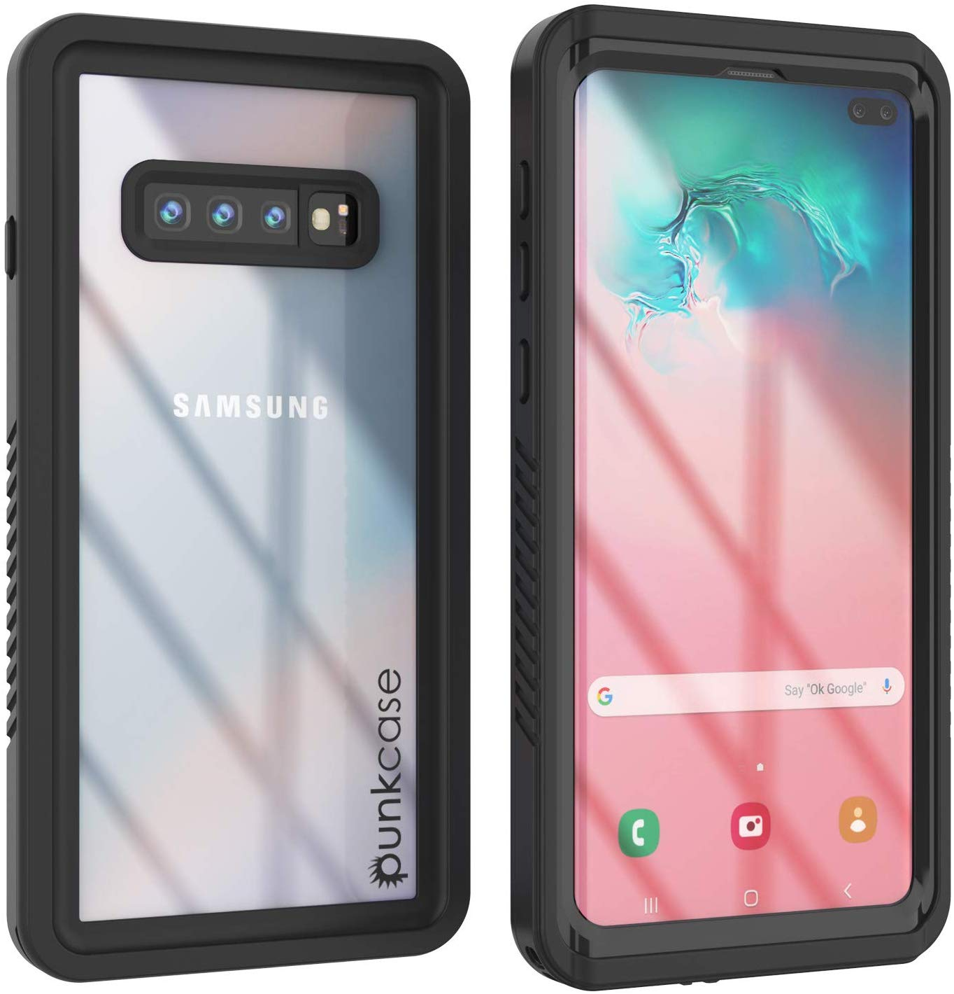 Galaxy S10+ Plus Water/Shockproof With Screen Protector Case [Black]