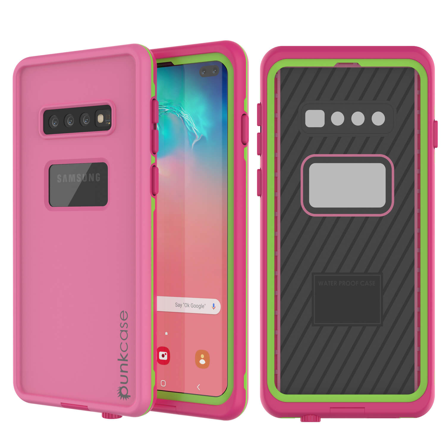Punkcase S10+ Plus Waterproof Case [Aqua Series] Armor Cover [Pink]