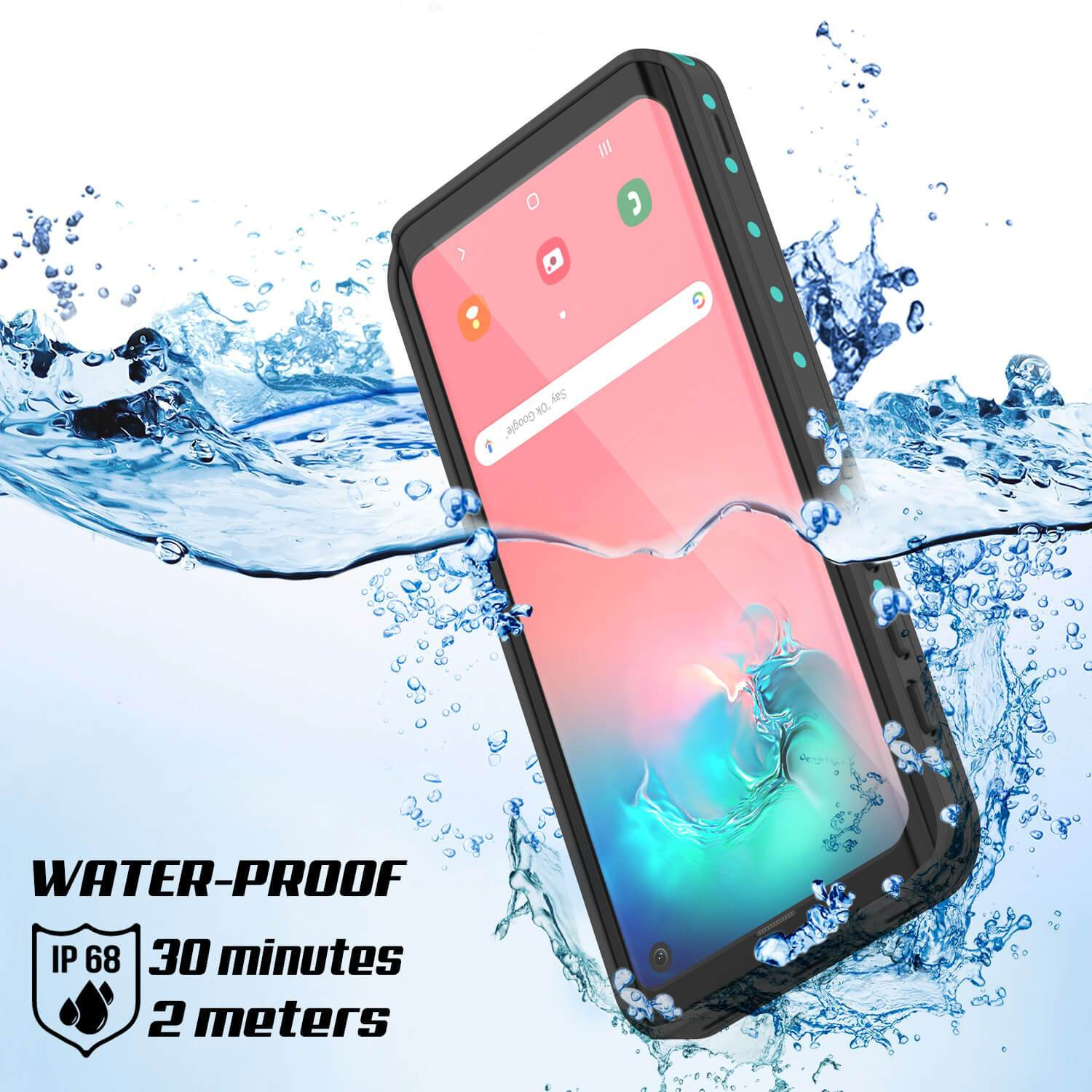 Galaxy A10e Waterproof Case PunkCase StudStar Teal Thin 6.6ft Underwater IP68 Shock/Snow Proof