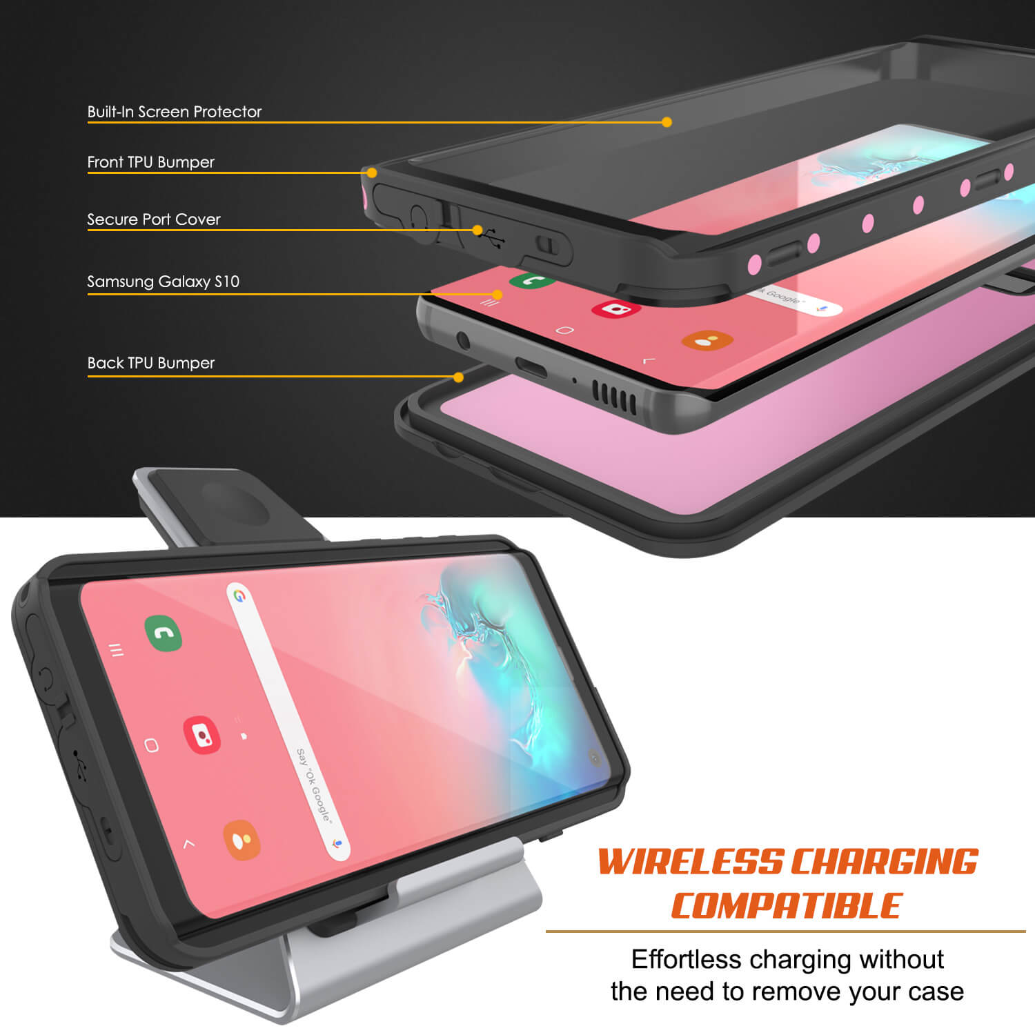 Galaxy S10 Waterproof Case PunkCase StudStar Pink Thin 6.6ft Underwater IP68 Shock/Snow Proof
