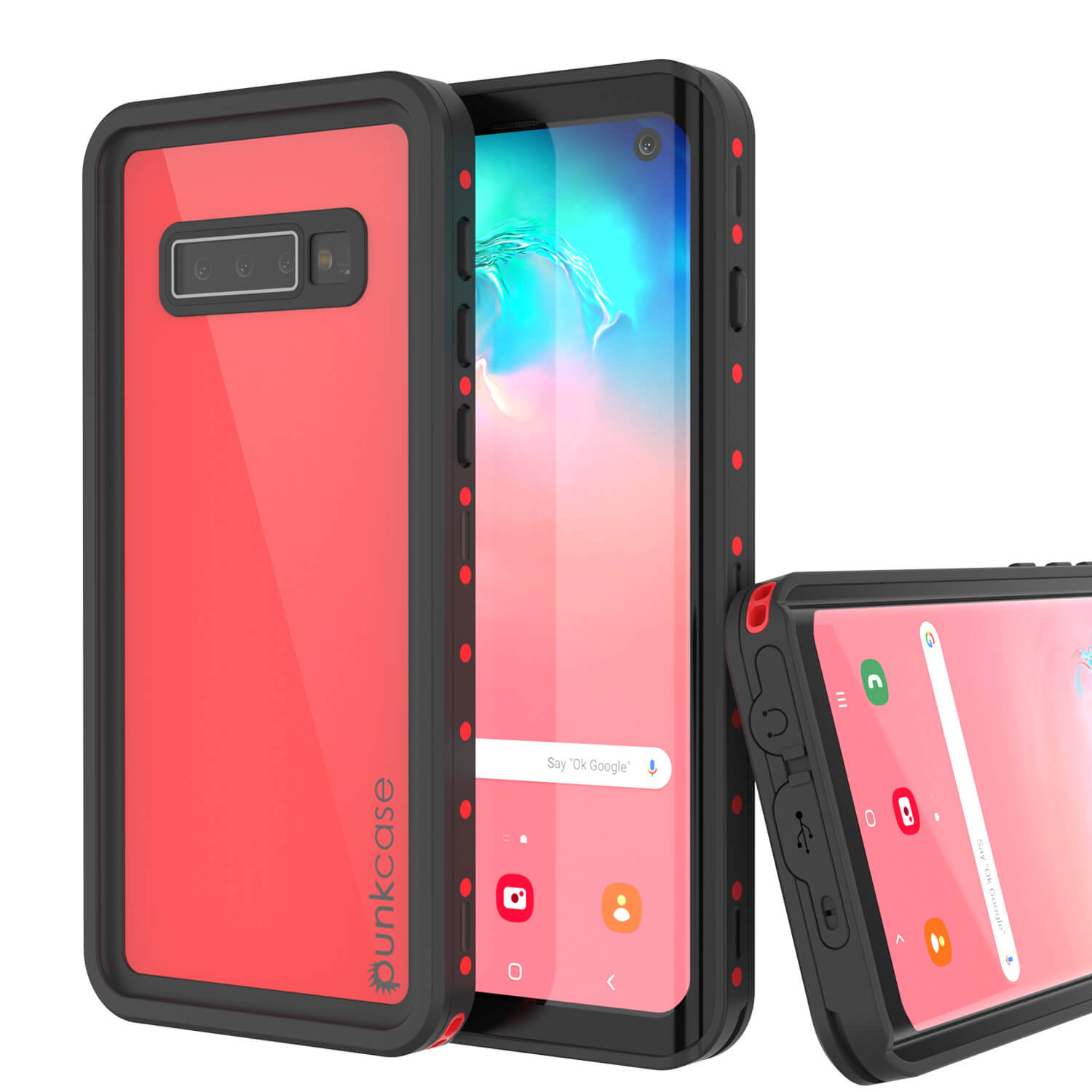 Galaxy S10 Waterproof Case PunkCase StudStar Red Thin 6.6ft Underwater IP68 Shock/Snow Proof