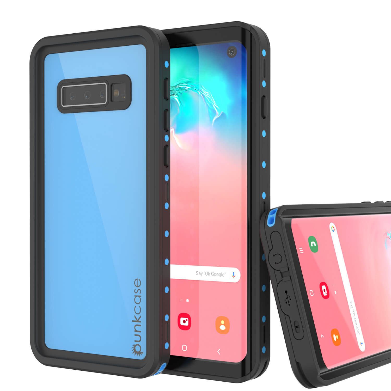 Galaxy S10 Waterproof Case PunkCase StudStar Light Blue Thin 6.6ft Underwater IP68 ShockProof