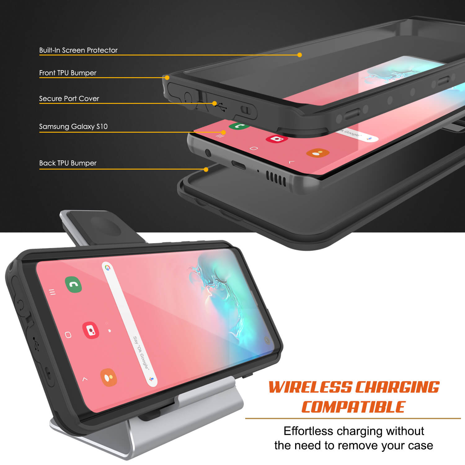 Galaxy S10 Waterproof Case PunkCase StudStar Black Thin 6.6ft Underwater IP68 Shock/Snow Proof