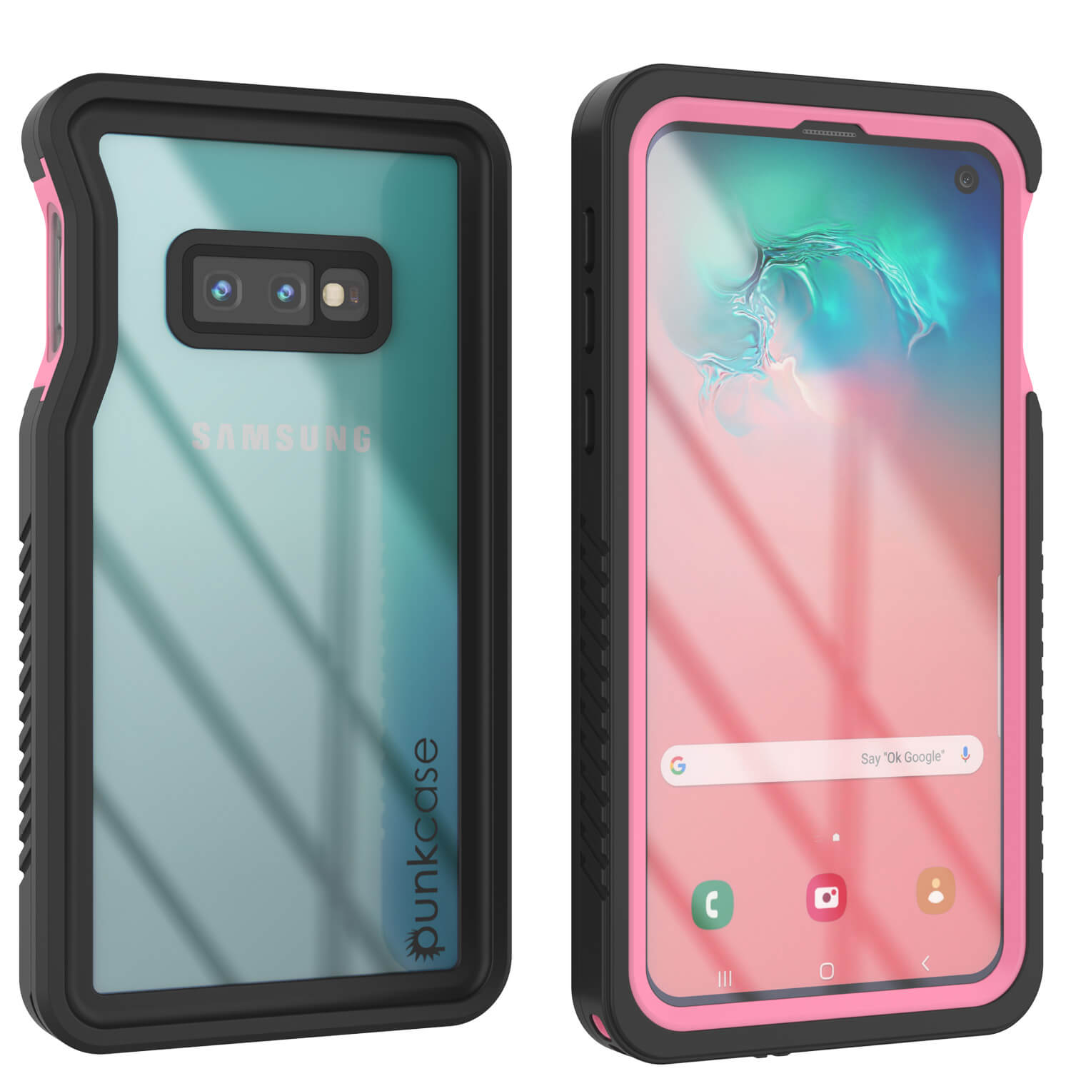 Galaxy S10e Water/Shock/Snowproof Slim Screen Protector Case [Pink]