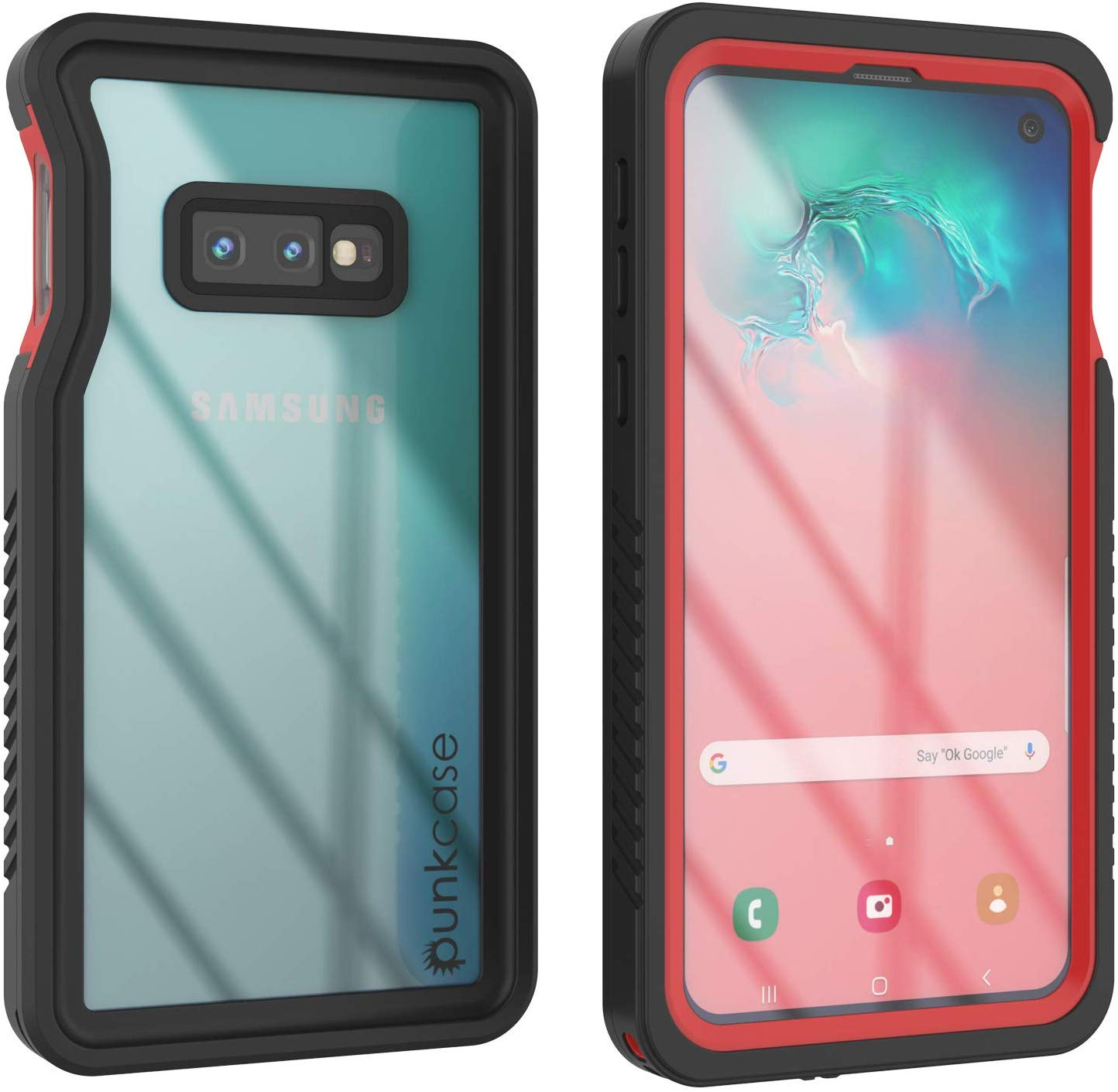 Galaxy S10e Water/Shock/Snowproof Slim Screen Protector Case [Red]