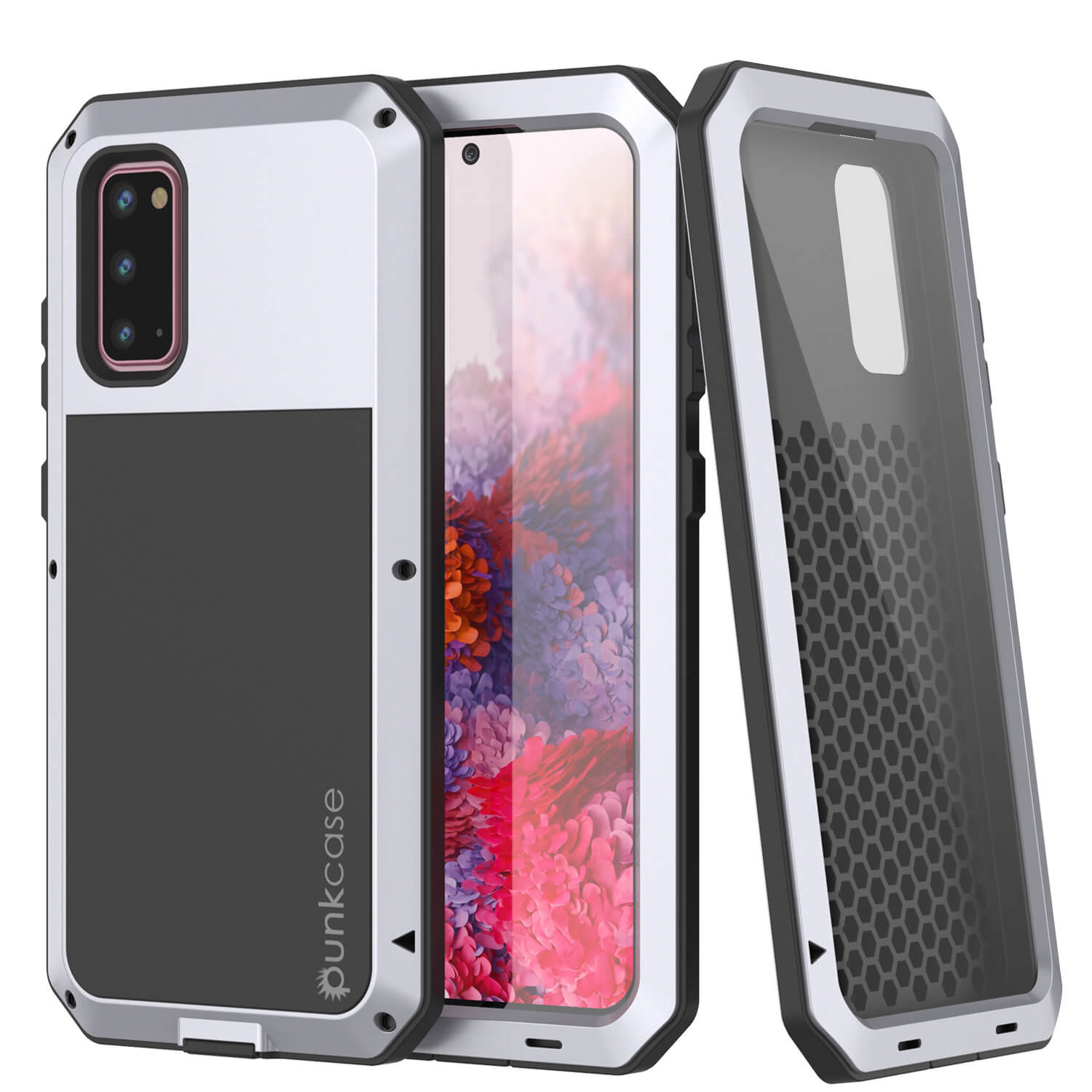Galaxy s20 Metal Case, Heavy Duty Military Grade Rugged Armor Cover [White]