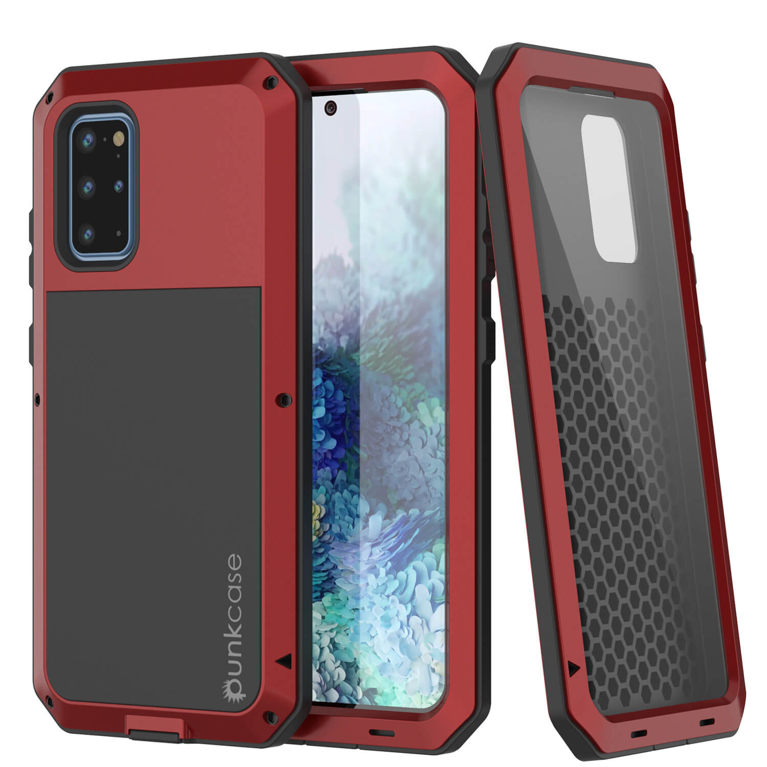 Galaxy s20+ Plus Metal Case, Heavy Duty Military Grade Rugged Armor Cover [Red]