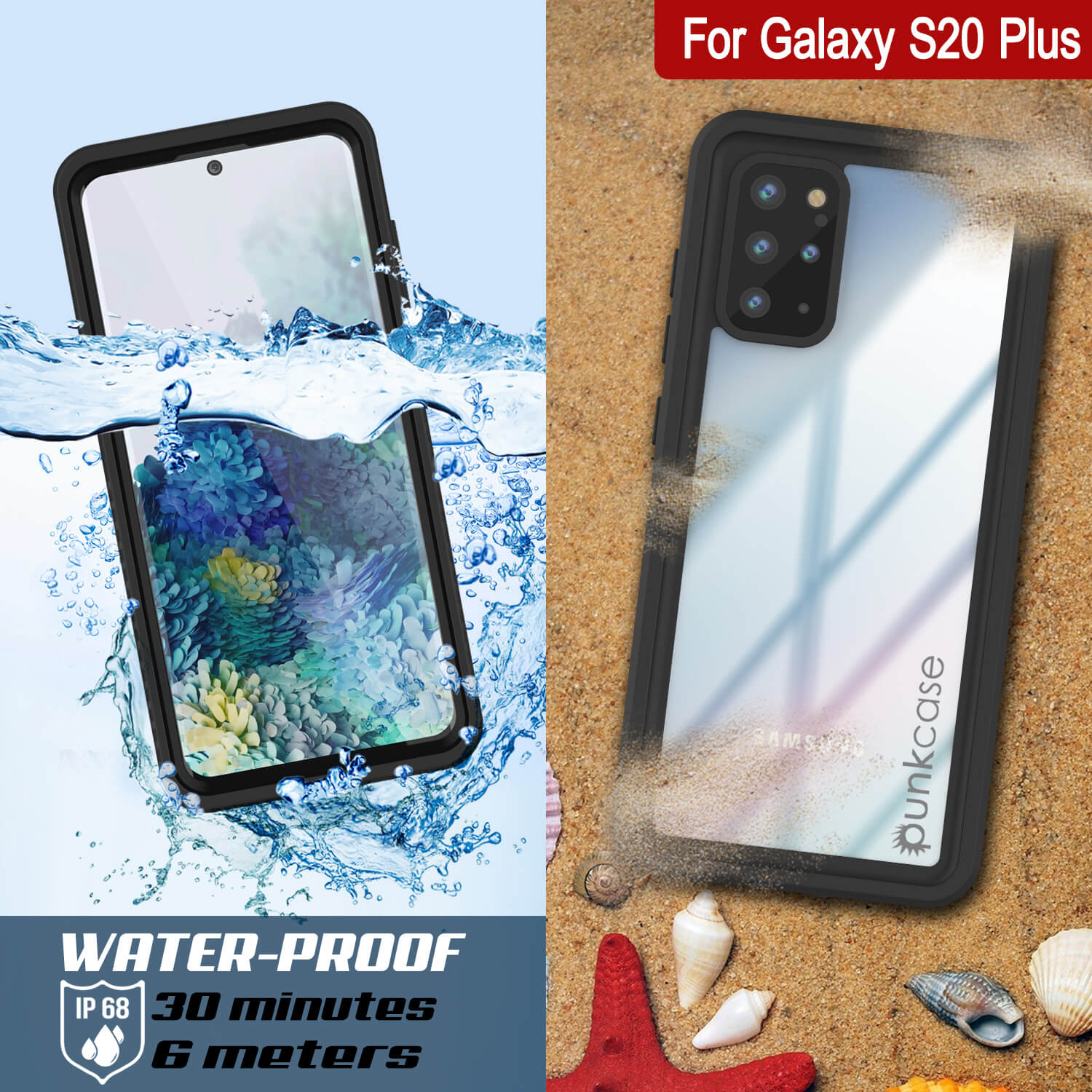 Galaxy S20+ Plus Water/Shockproof [Extreme Series] With Screen Protector Case [Black]