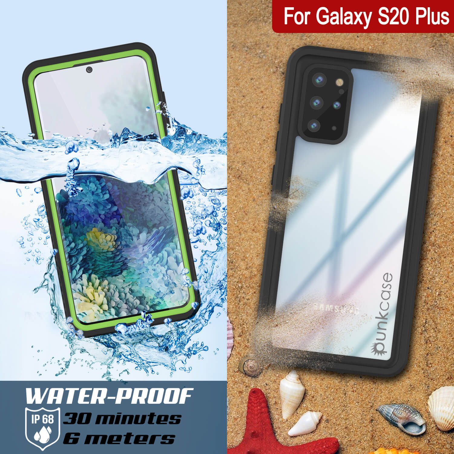 Galaxy S20+ Plus Water/Shockproof [Extreme Series] Screen Protector Case [Light Green]