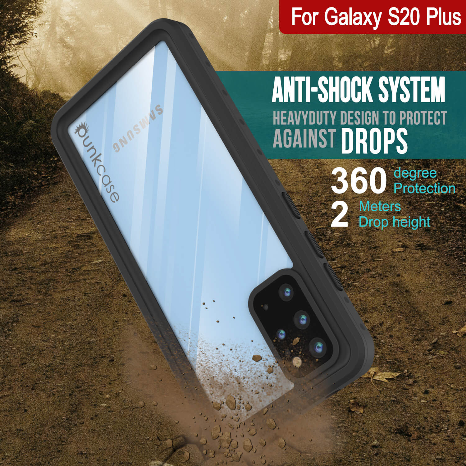 Galaxy S20+ Plus Waterproof Case PunkCase StudStar Clear Thin 6.6ft Underwater IP68 Shock/Snow Proof
