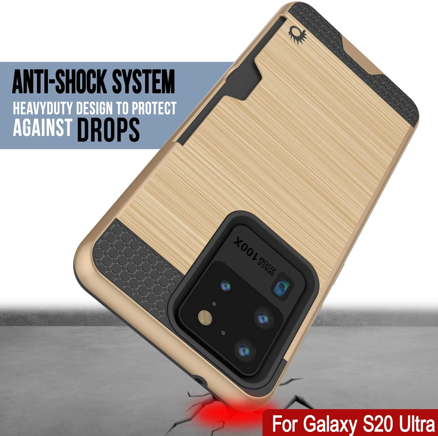 Galaxy S20 Ultra Case, PUNKcase [SLOT Series] [Slim Fit] Dual-Layer Armor Cover w/Integrated Anti-Shock System, Credit Card Slot [Gold]