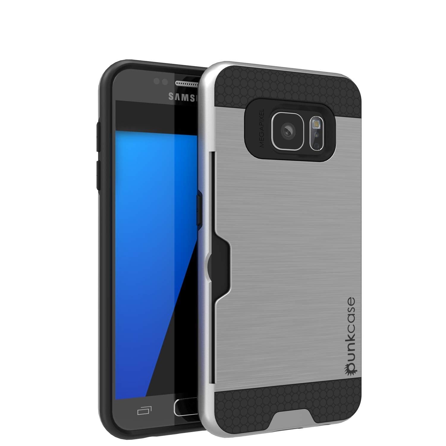 Galaxy S7+ Plus Dual-Layer Ultra Screen Protector Case W/ Card Slot [Silver]