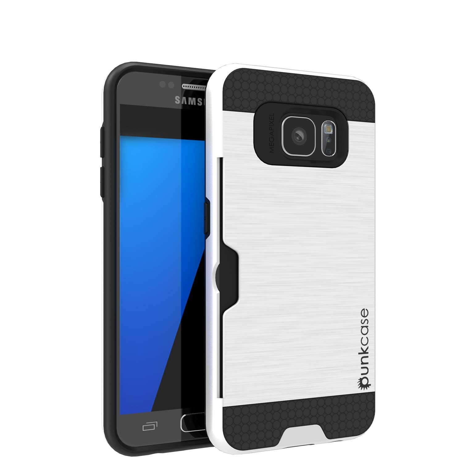 Galaxy S7+ Plus Dual-Layer Ultra Screen Protector Case W/ Card Slot [White]