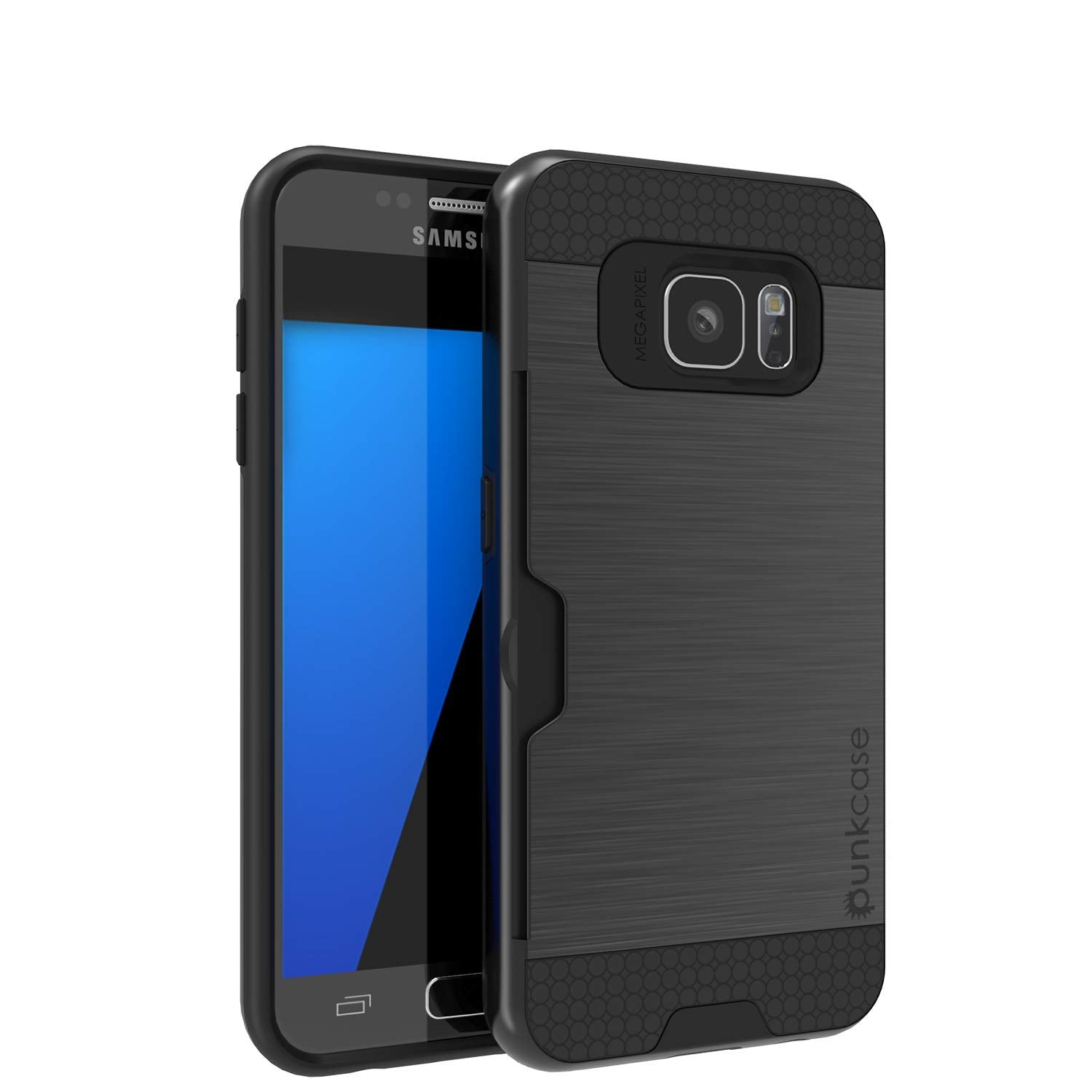 Galaxy S7+ Plus Dual-Layer Ultra Screen Protector Case W/ Card Slot [Black]