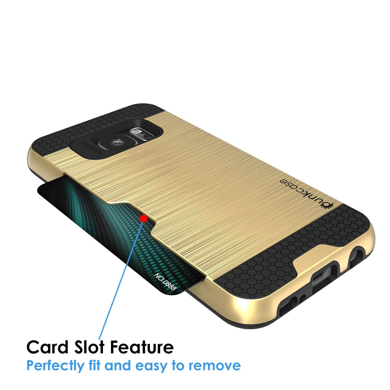 Galaxy S7+ Plus Dual-Layer Ultra Screen Protector Case W/ Card Slot [Gold]