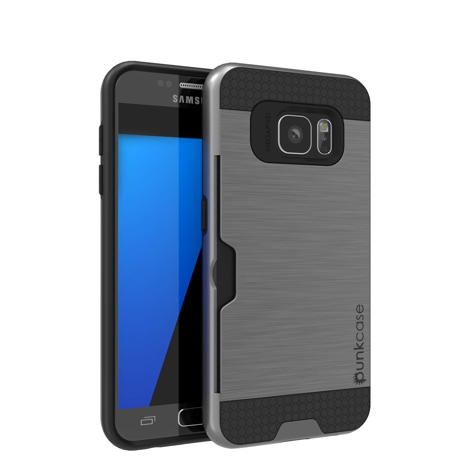 Galaxy S7+ Plus Dual-Layer Ultra Screen Protector Case W/ Card Slot [Grey]