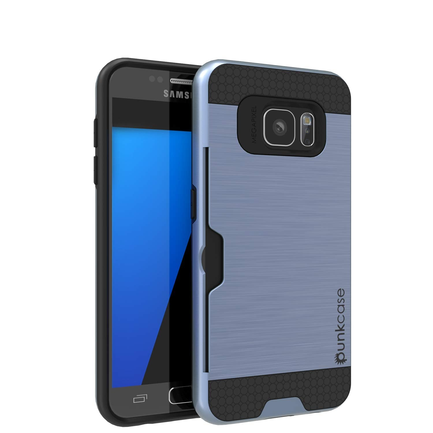Galaxy S7+ Plus Dual-Layer Ultra Screen Protector Case W/ Card Slot [Navy]