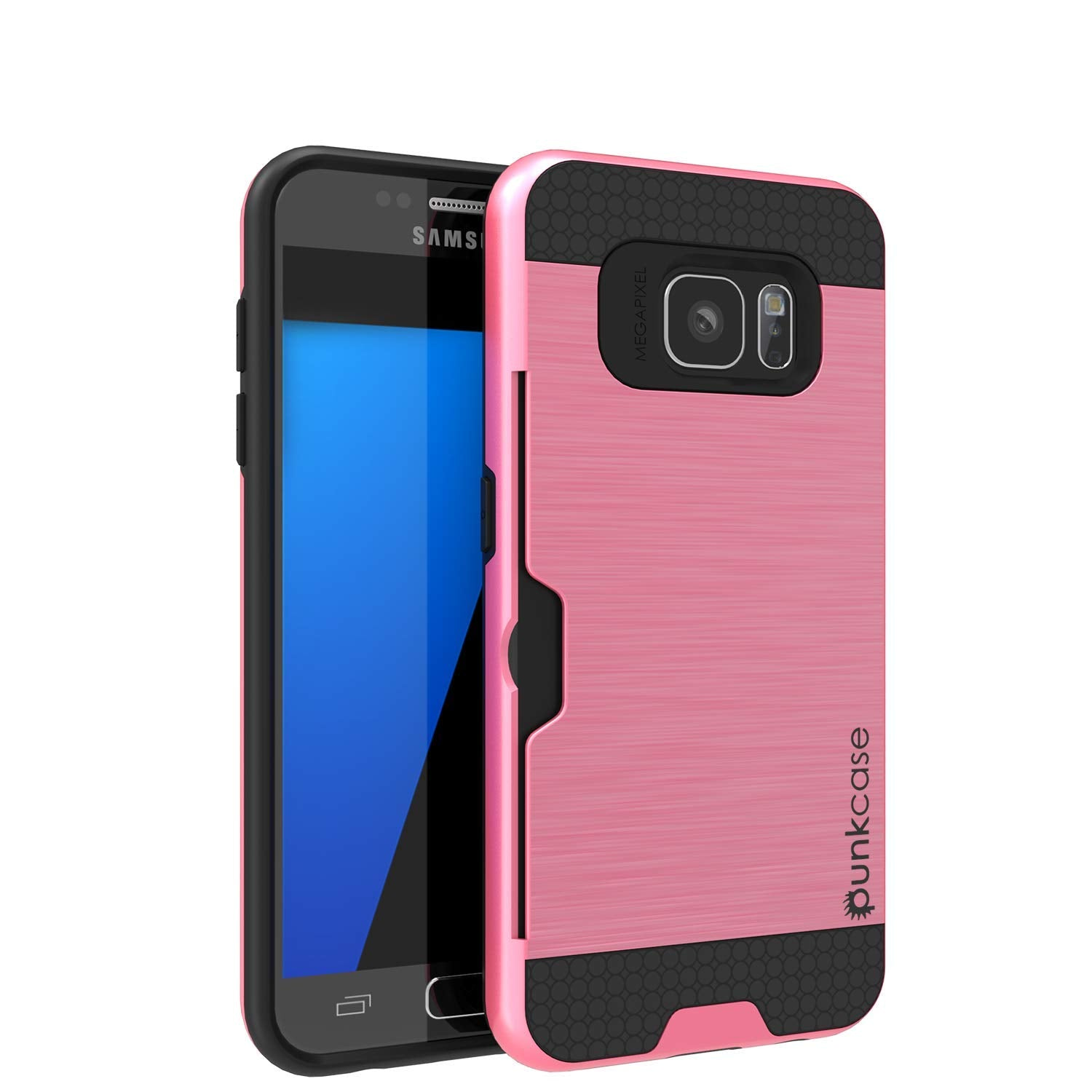 Galaxy S7+ Plus Dual-Layer Ultra Screen Protector Case W/ Card Slot [Pink]