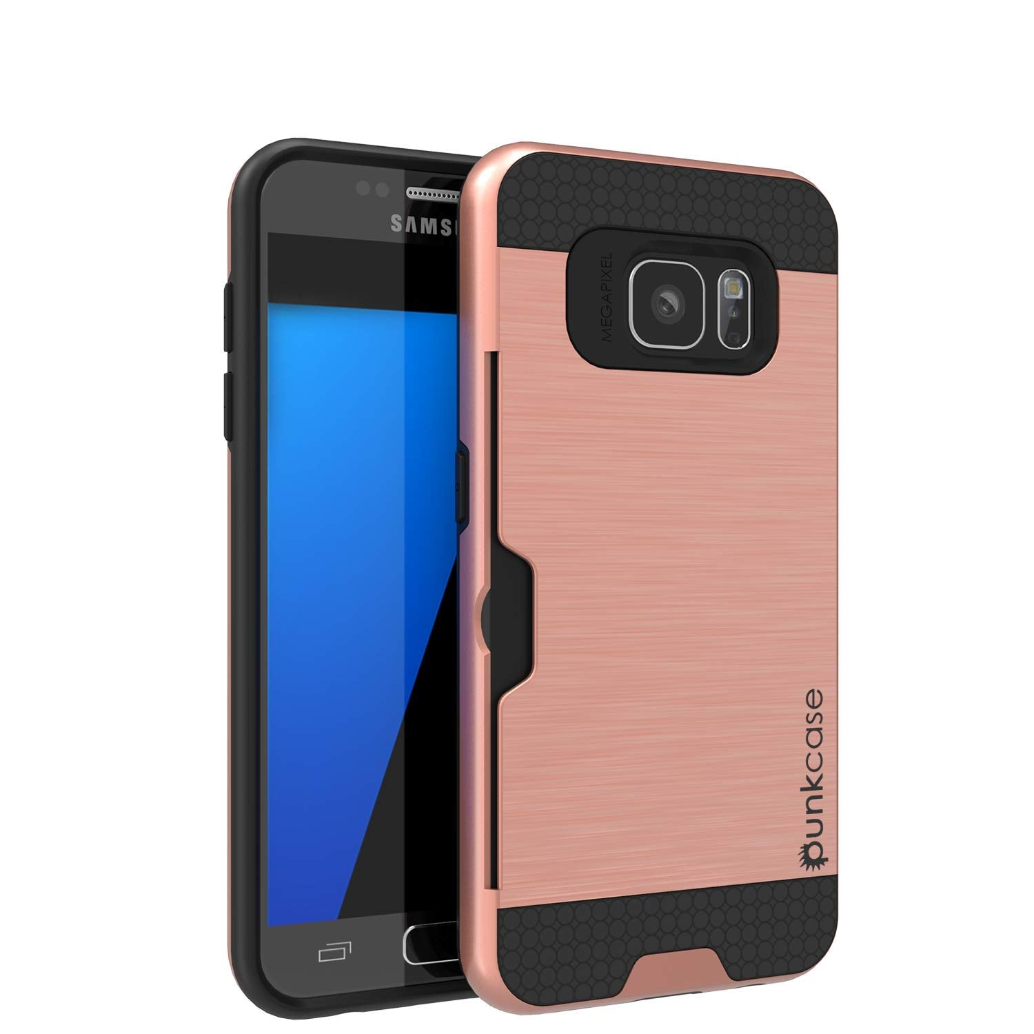 Galaxy S7+ Plus Dual-Layer Ultra Screen Protector Case W/ Card Slot [Rose]