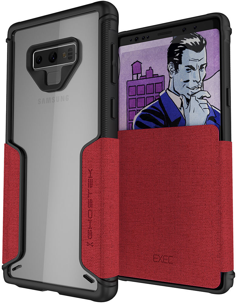 Ghostek Exec 3 Series Credit Card Flip Wallet Case for Samsung Galaxy Note 9 [Red]