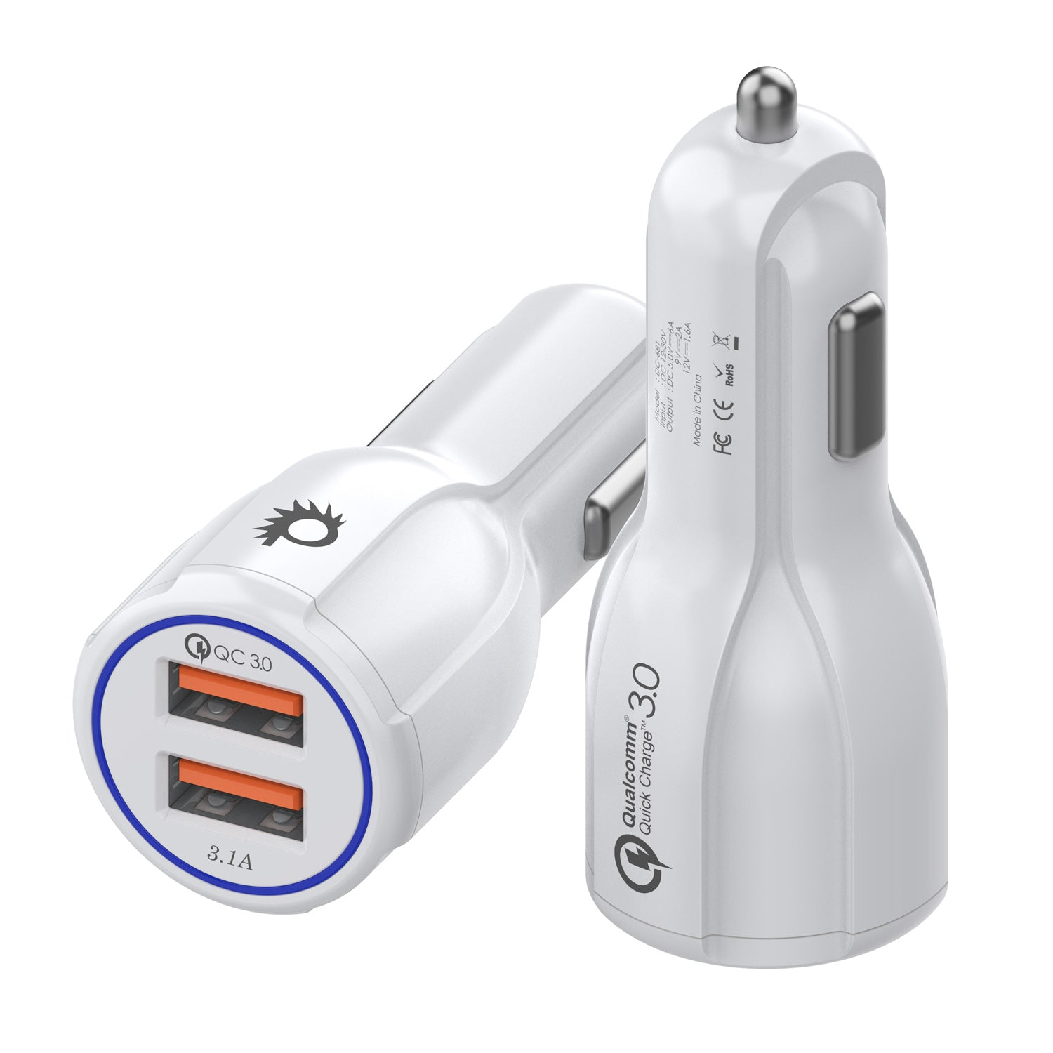 PunkCase NRGcharge QuickCharge 2.0 Rapid High-speed Fast Wall Car White Charger w/ Micro USB Cable