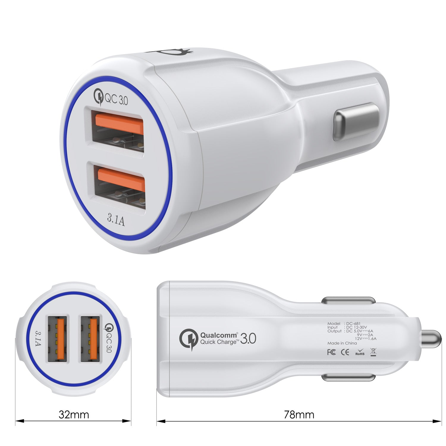 Ghostek® NRGcharge QuickCharge 2.0 Rapid High-speed Fast Wall Car White Charger w/ Micro USB Cable