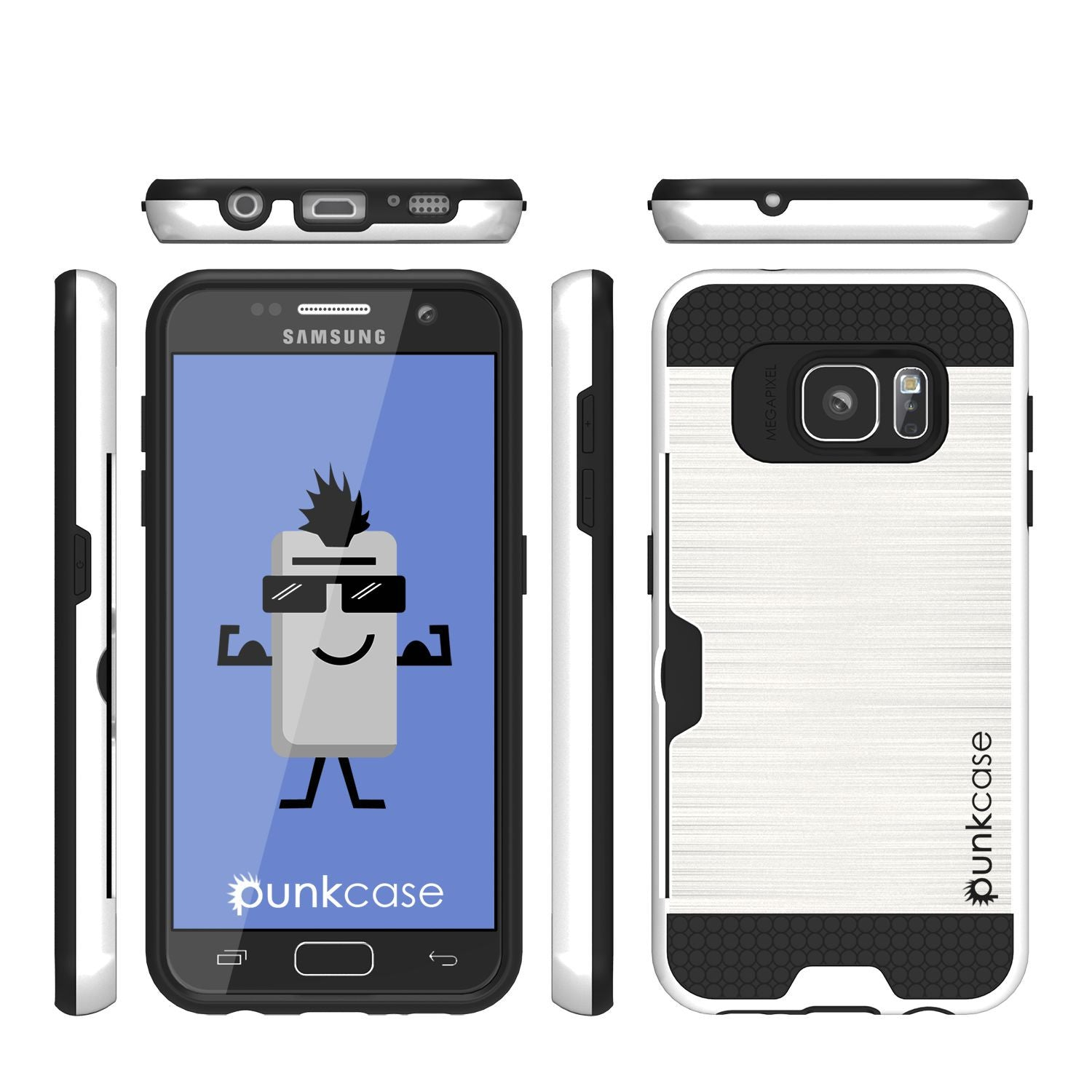 Galaxy s7 Case PunkCase SLOT White Series Slim Armor Soft Cover Case w/ Tempered Glass