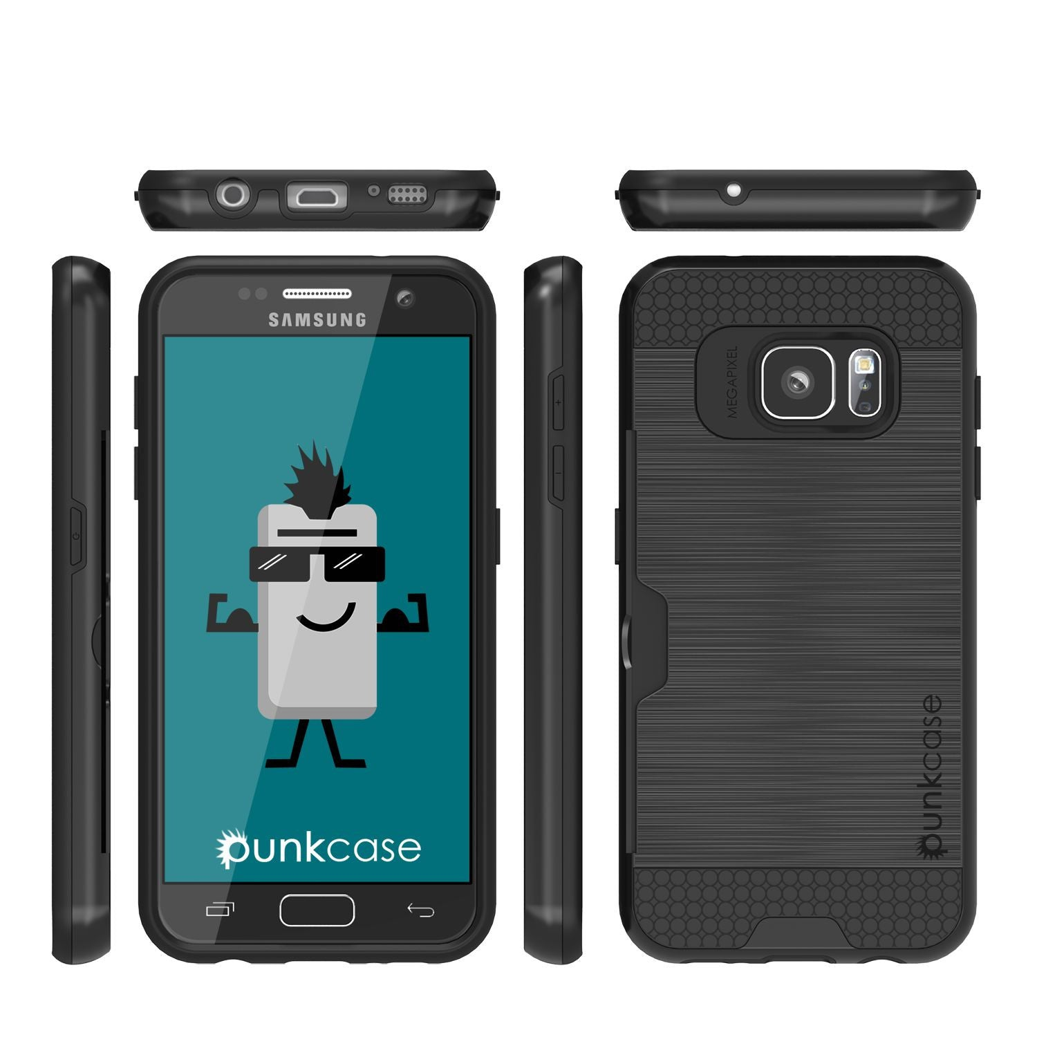Galaxy s7 Case PunkCase SLOT Black Series Slim Armor Soft Cover Case w/ Tempered Glass