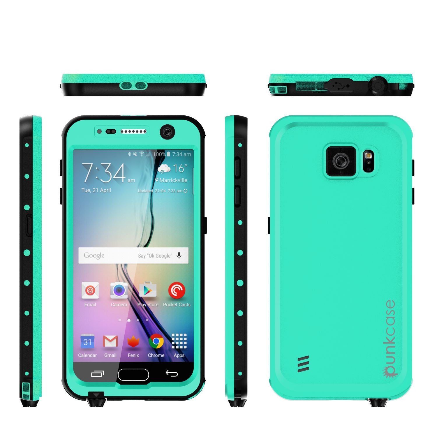 Galaxy S6 Waterproof Case PunkCase StudStar Teal Thin 6.6ft Underwater IP68 Shock/Dirt/Snow Proof