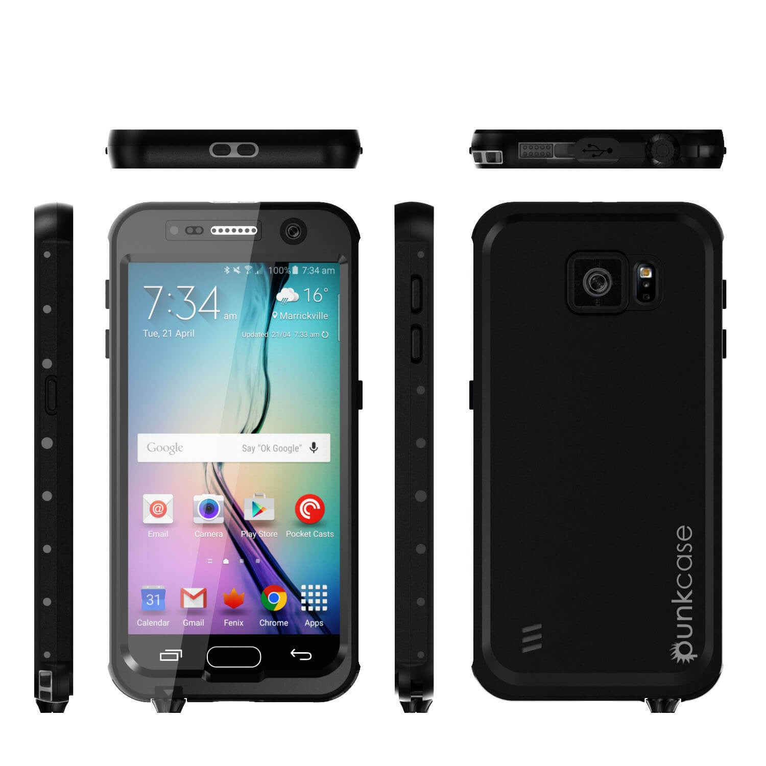 Galaxy S6 Waterproof Case PunkCase StudStar Black Thin 6.6ft Underwater IP68 Shock/Dirt/Snow Proof