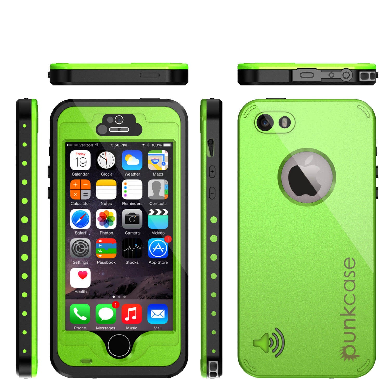 iPhone 5S/5 Waterproof Case, PunkCase StudStar Light Green Case Water/ShockProof | Lifetime Warranty