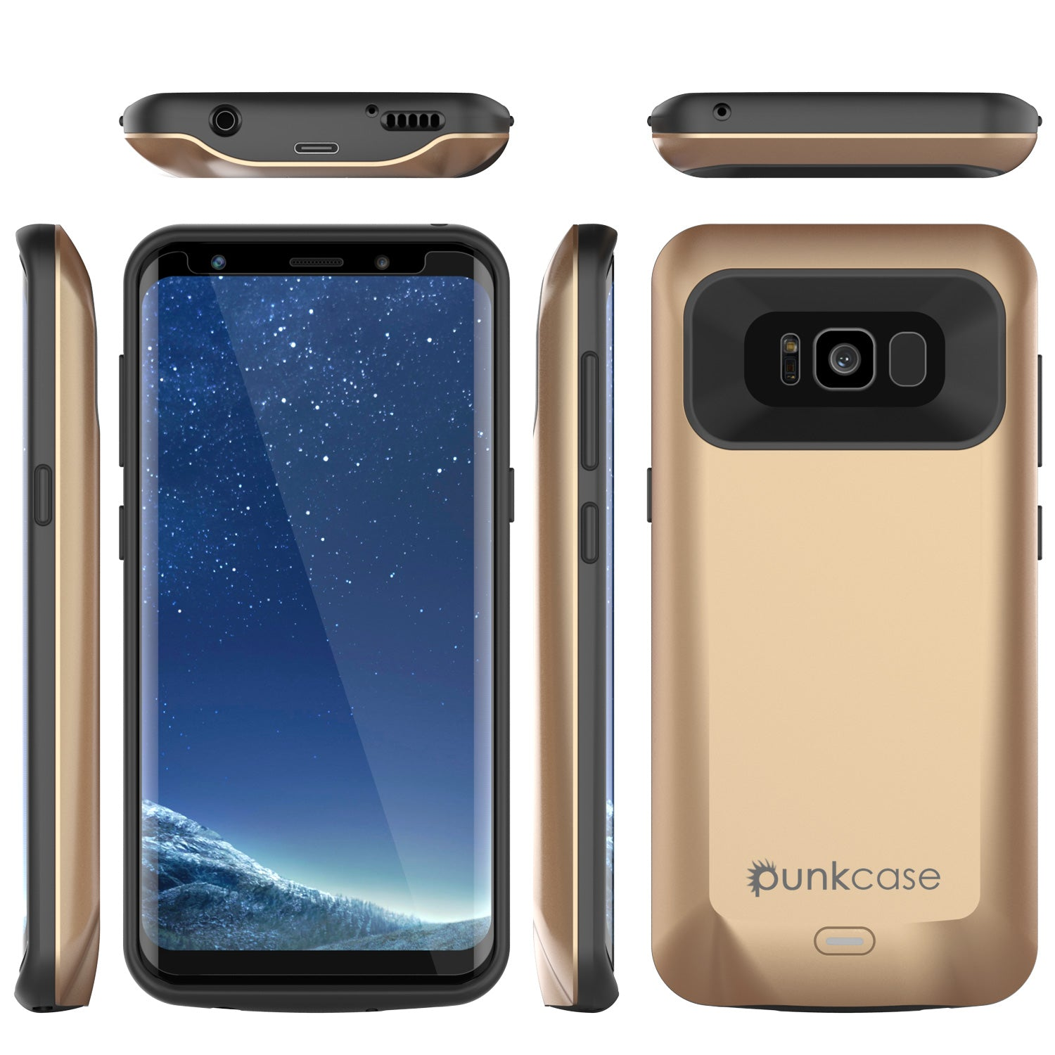 Galaxy S8 PLUS Battery Case Gold, Punkcase 5500mAH Charger Case W