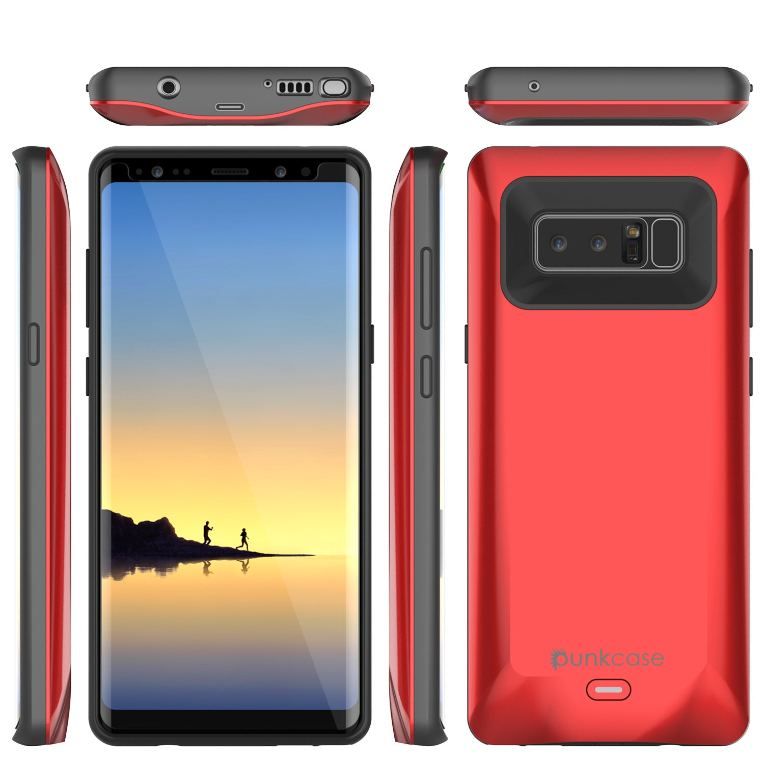 new style 1f85c 77f8c Galaxy Note 8 5000mAH Battery Charger W/ USB Port Slim Case [Red]