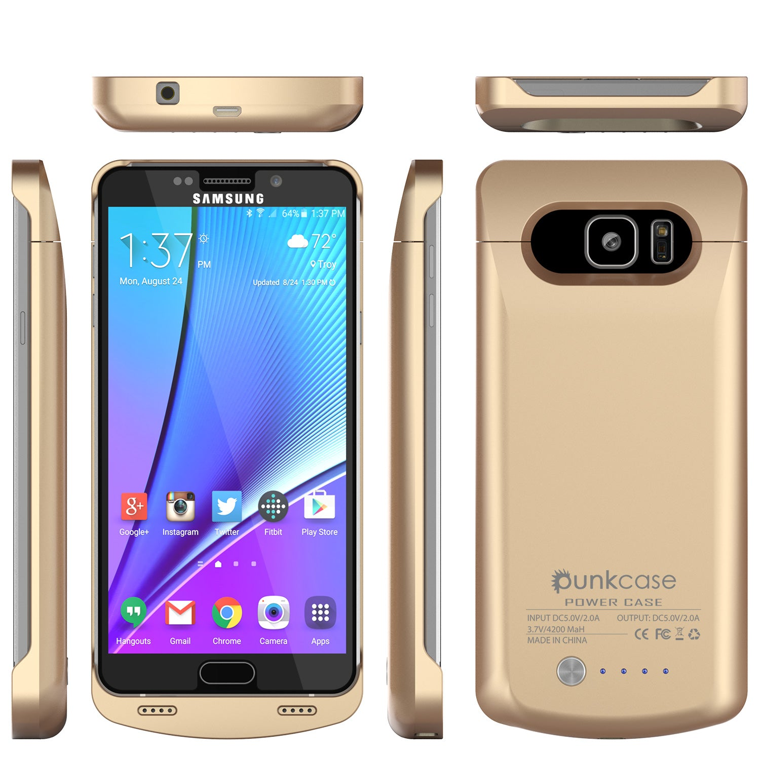 Galaxy Note 5 Battery Case, Punkcase 5000mAH Charger Case W/ Screen Protector | Integrated Kickstand & USB Port | IntelSwitch [Gold]
