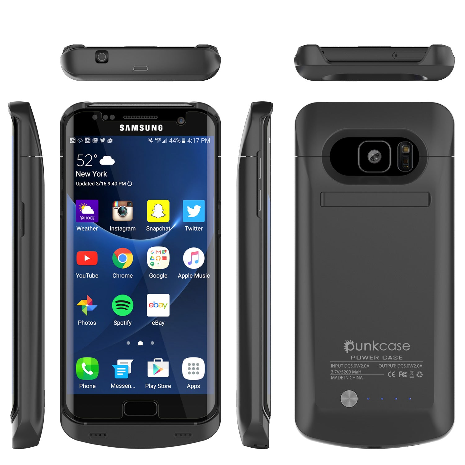 Galaxy S7 EDGE Battery Case, Punkcase 5200mAH Charger Case W/ Screen Protector | Integrated Kickstand & USB Port | IntelSwitch [Black]