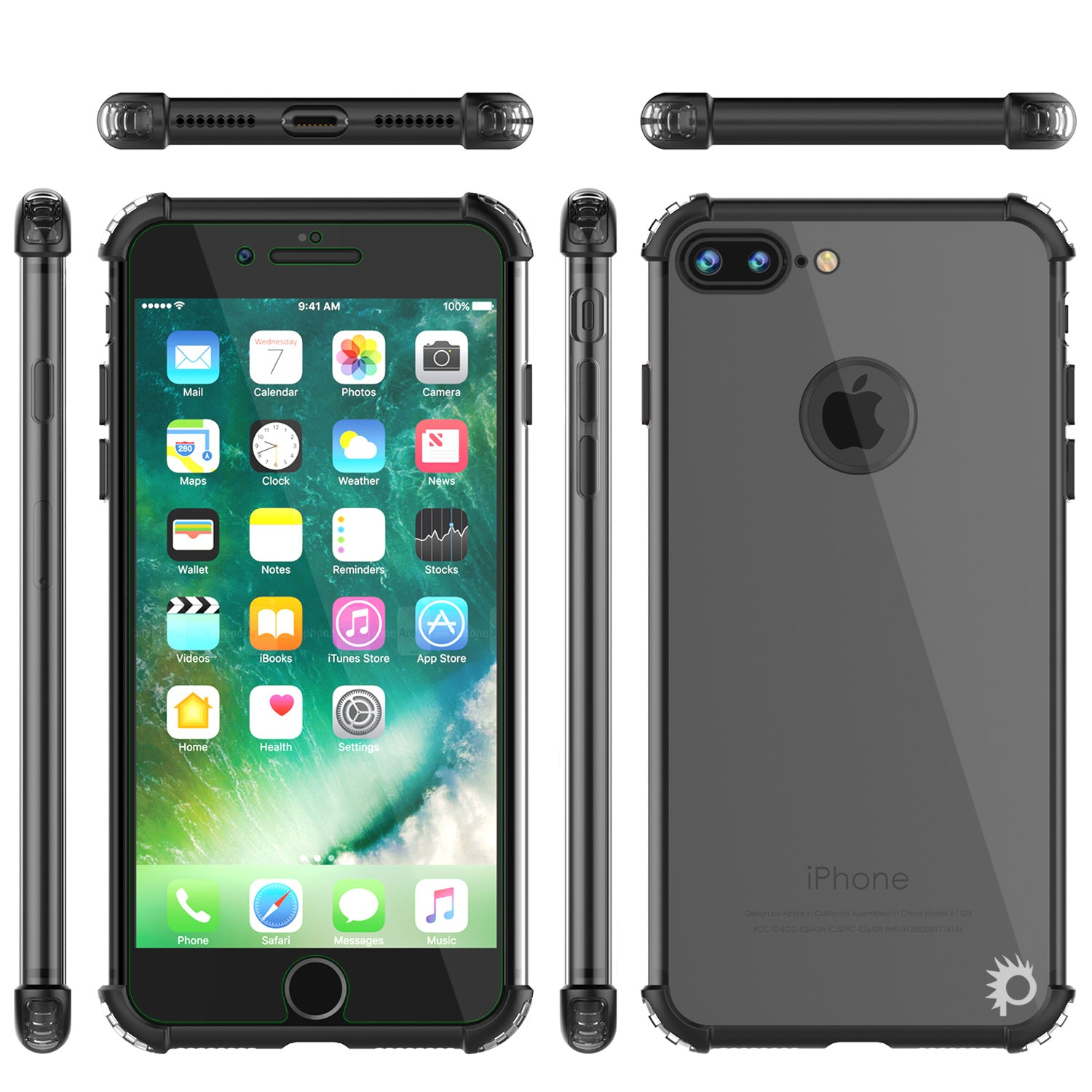 iPhone 7 PLUS Case, Punkcase [BLAZE Black SERIES] Protective Cover W/ PunkShield Screen Protector