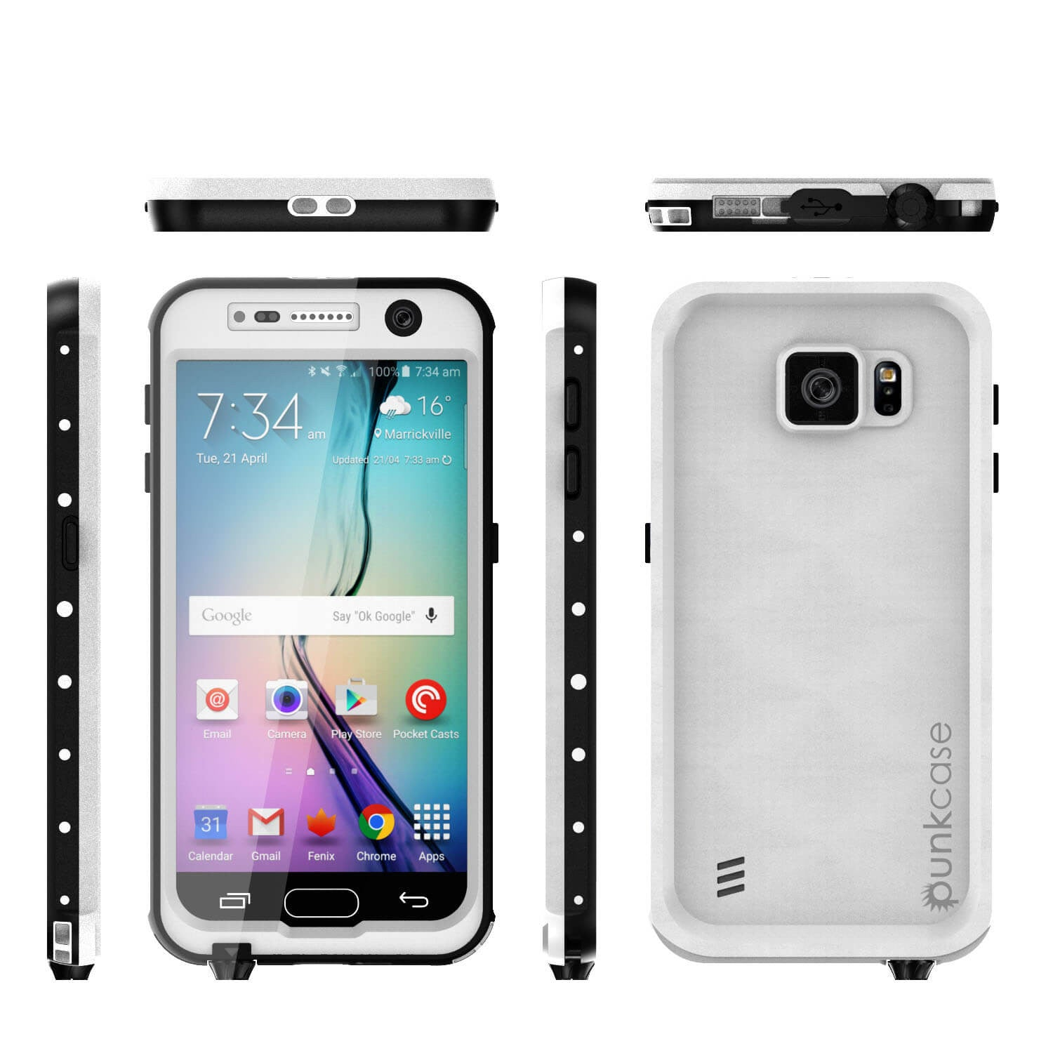 Galaxy S6 Waterproof Case, Punkcase StudStar White Thin 6.6ft Underwater IP68 Shock/Dirt/Snow Proof