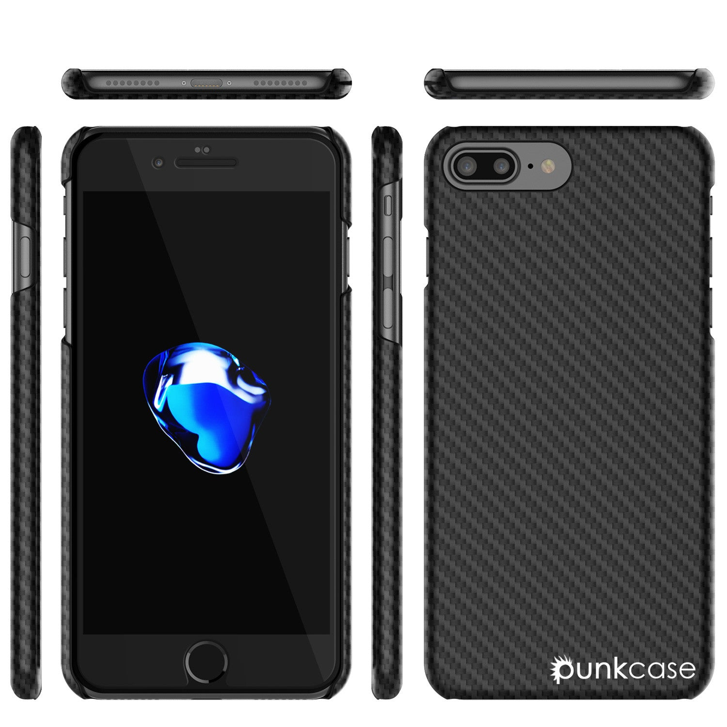 iPhone 8+ Plus Case - Punkcase CarbonShield Jet Black