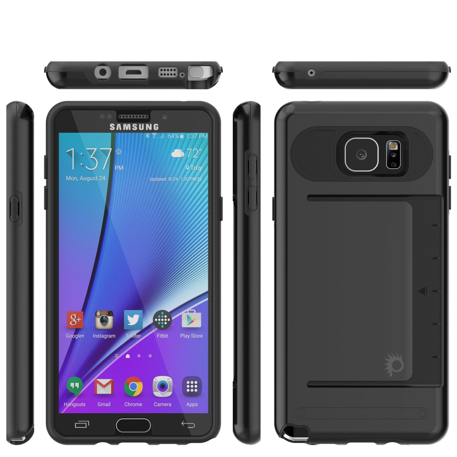 Galaxy Note 5 Case PunkCase CLUTCH Black Series Slim Armor Soft Cover Case w/ Tempered Glass
