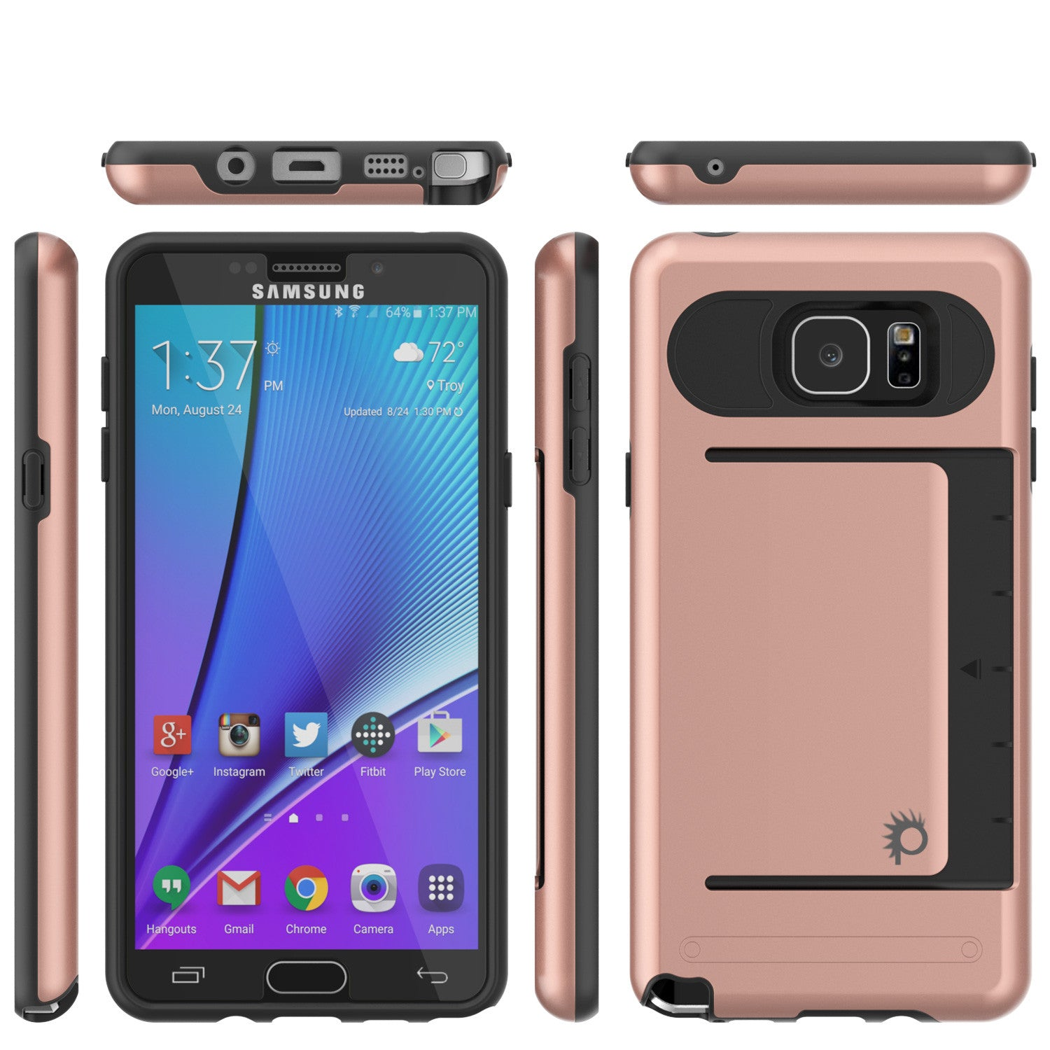 Galaxy Note 5 Case PunkCase CLUTCH Rose Gold Series Slim Armor Soft Cover Case w/ Tempered Glass