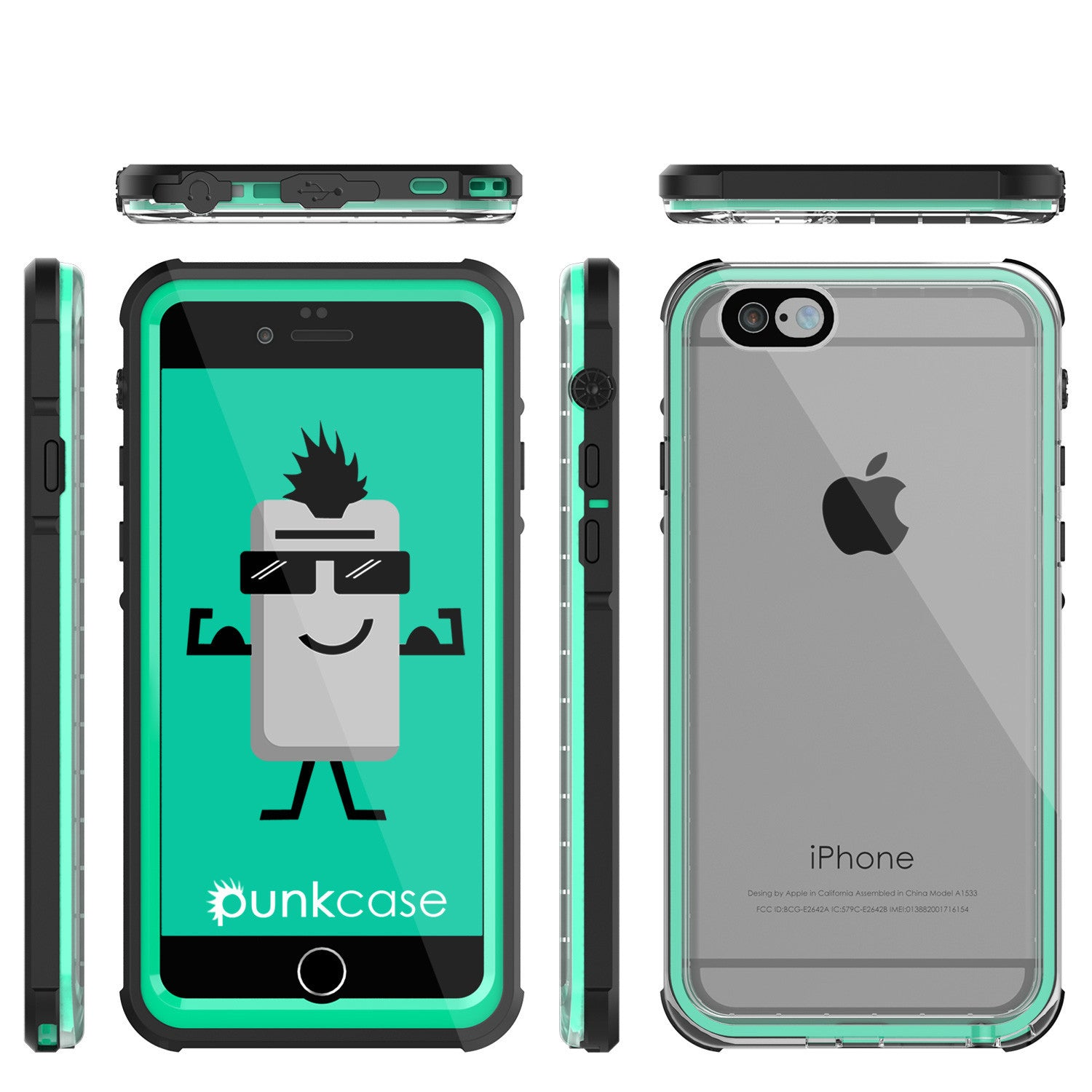 iPhone 6+/6S+ Plus Waterproof Case, PUNKcase CRYSTAL Teal W/ Attached Screen Protector | Warranty