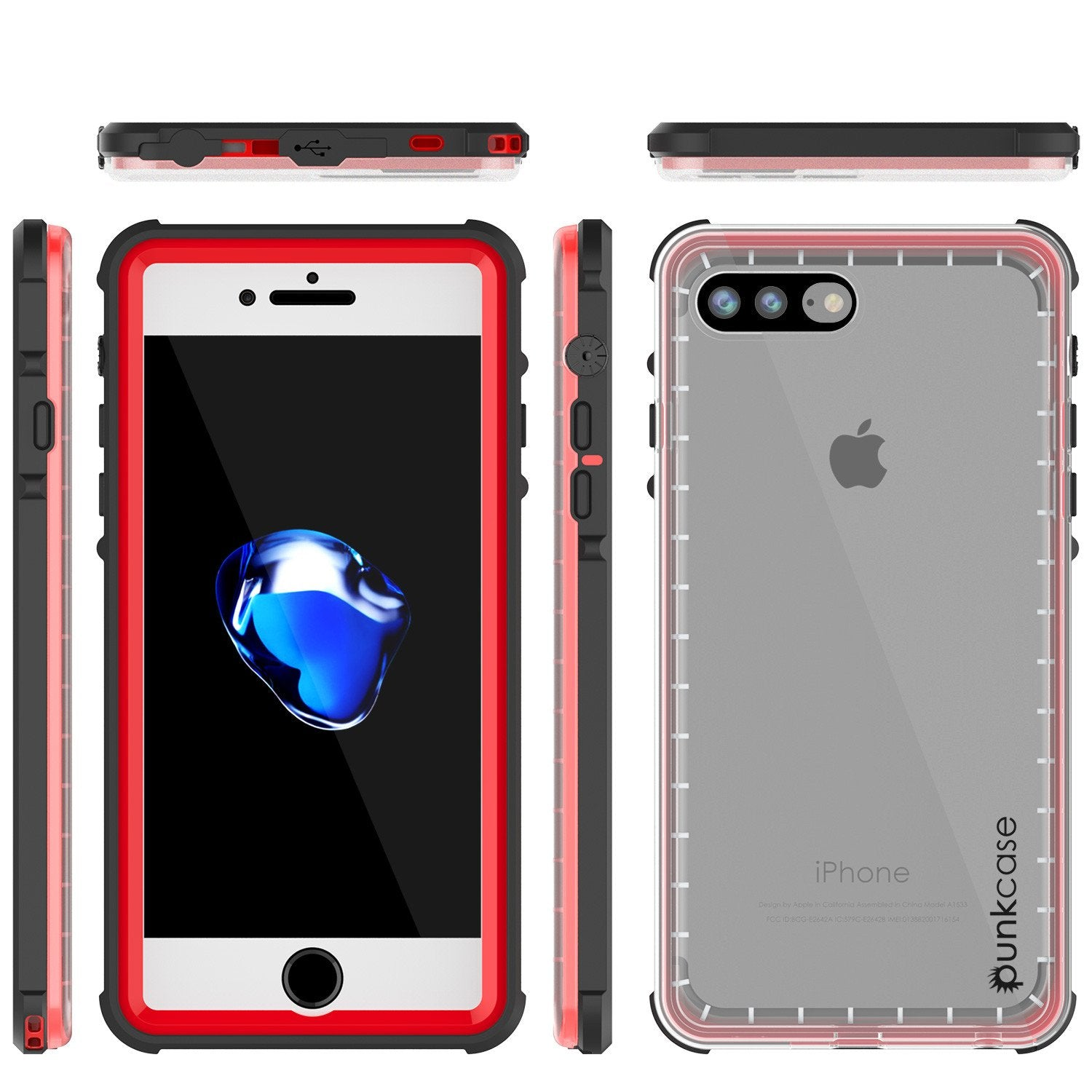 new product 691d8 0113b PUNKcase CRYSTAL Red Apple iPhone 8+ Plus Waterproof Case