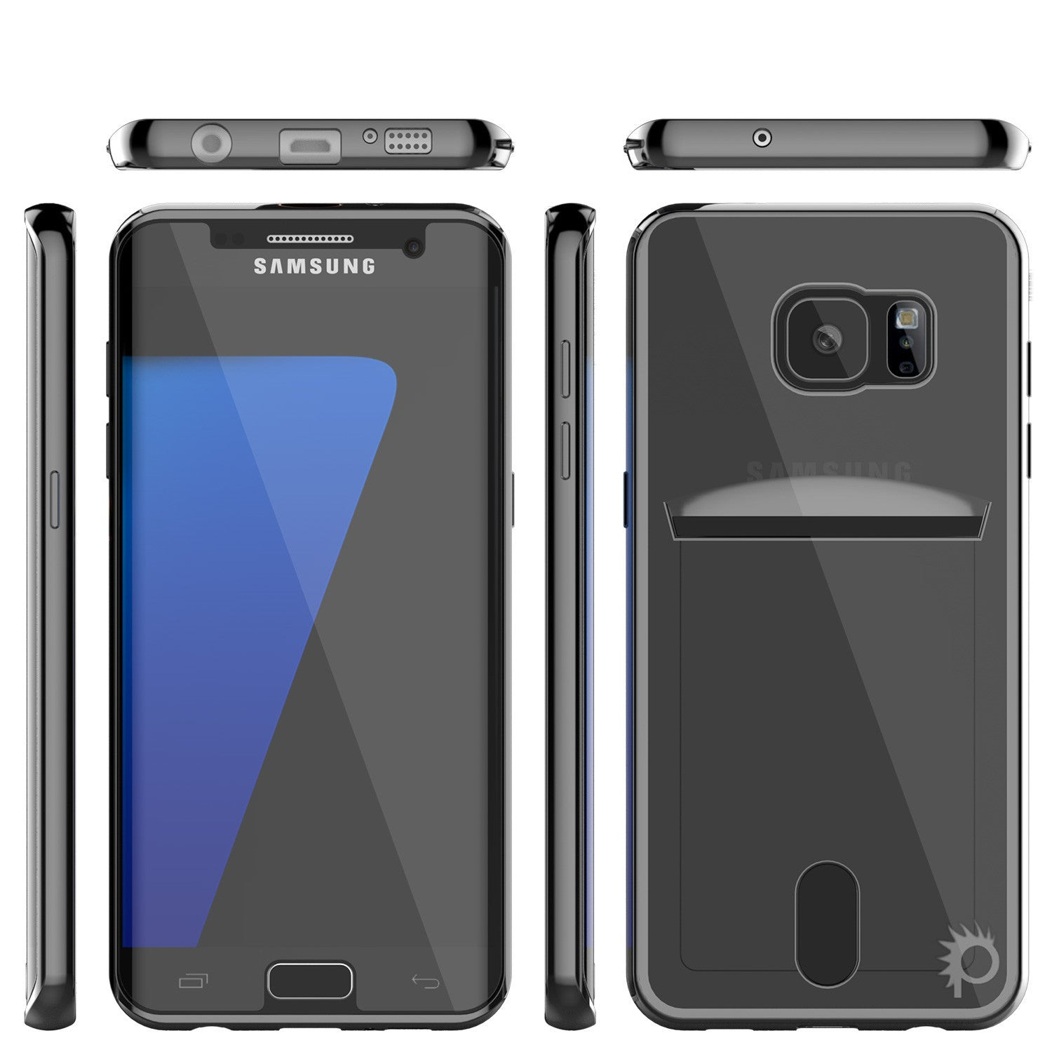 Galaxy S7 Case, PUNKCASE® LUCID Black Series | Card Slot | SHIELD Screen Protector | Ultra fit
